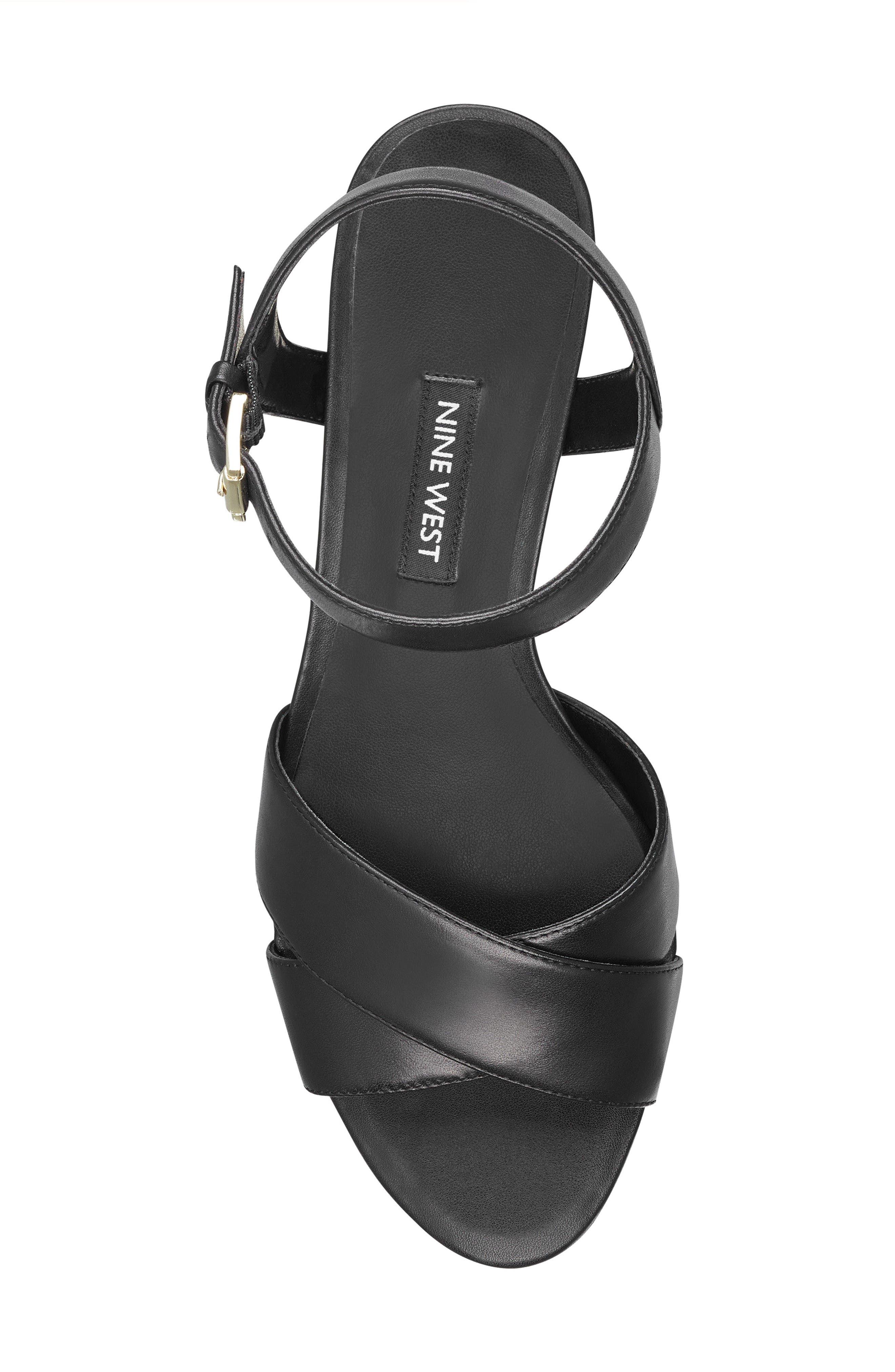 Laglade Wedge Sandal,                             Alternate thumbnail 5, color,                             BLACK FAUX LEATHER