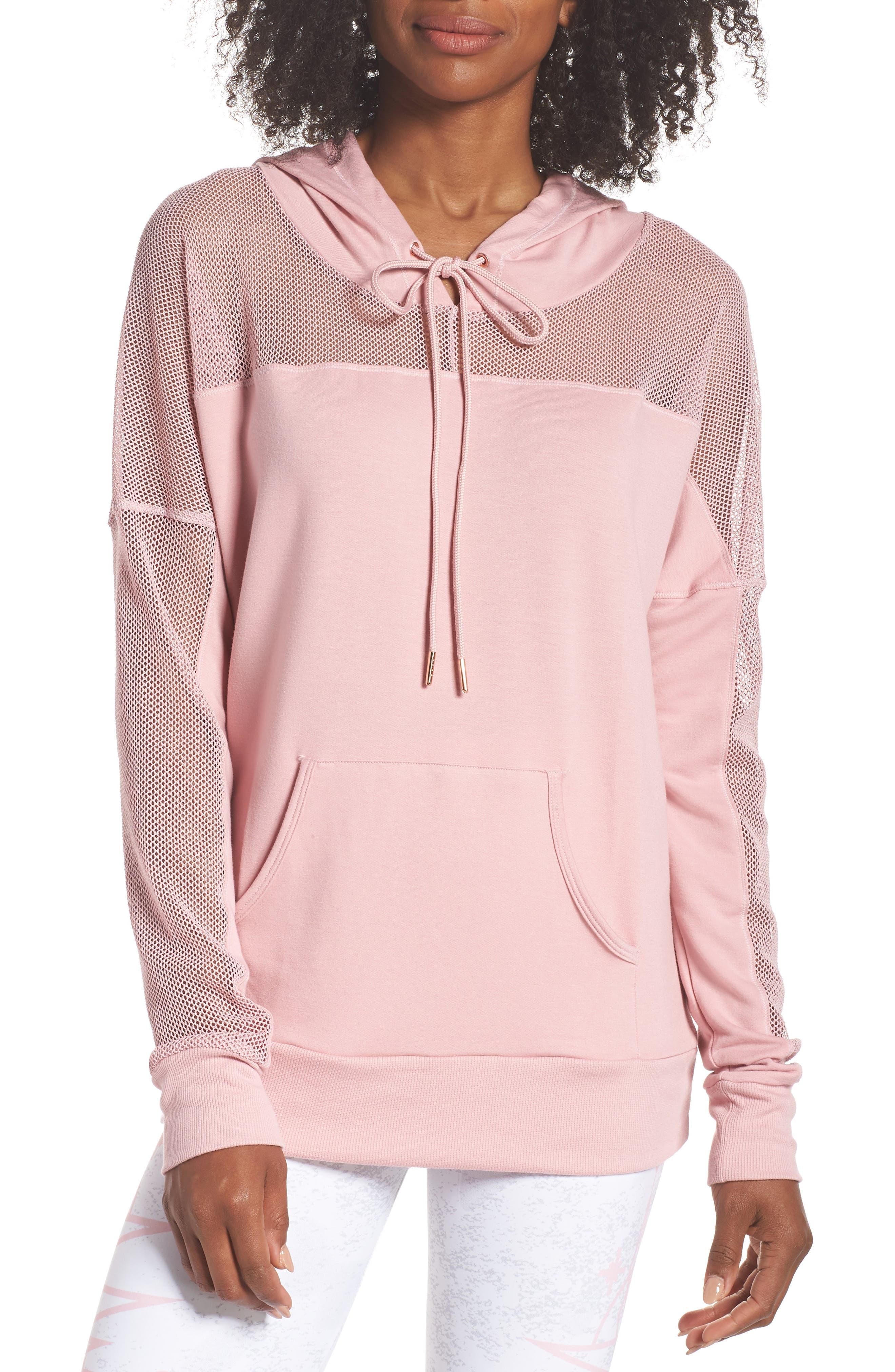 Mesh Sleeve Hoodie,                         Main,                         color, BLUSH
