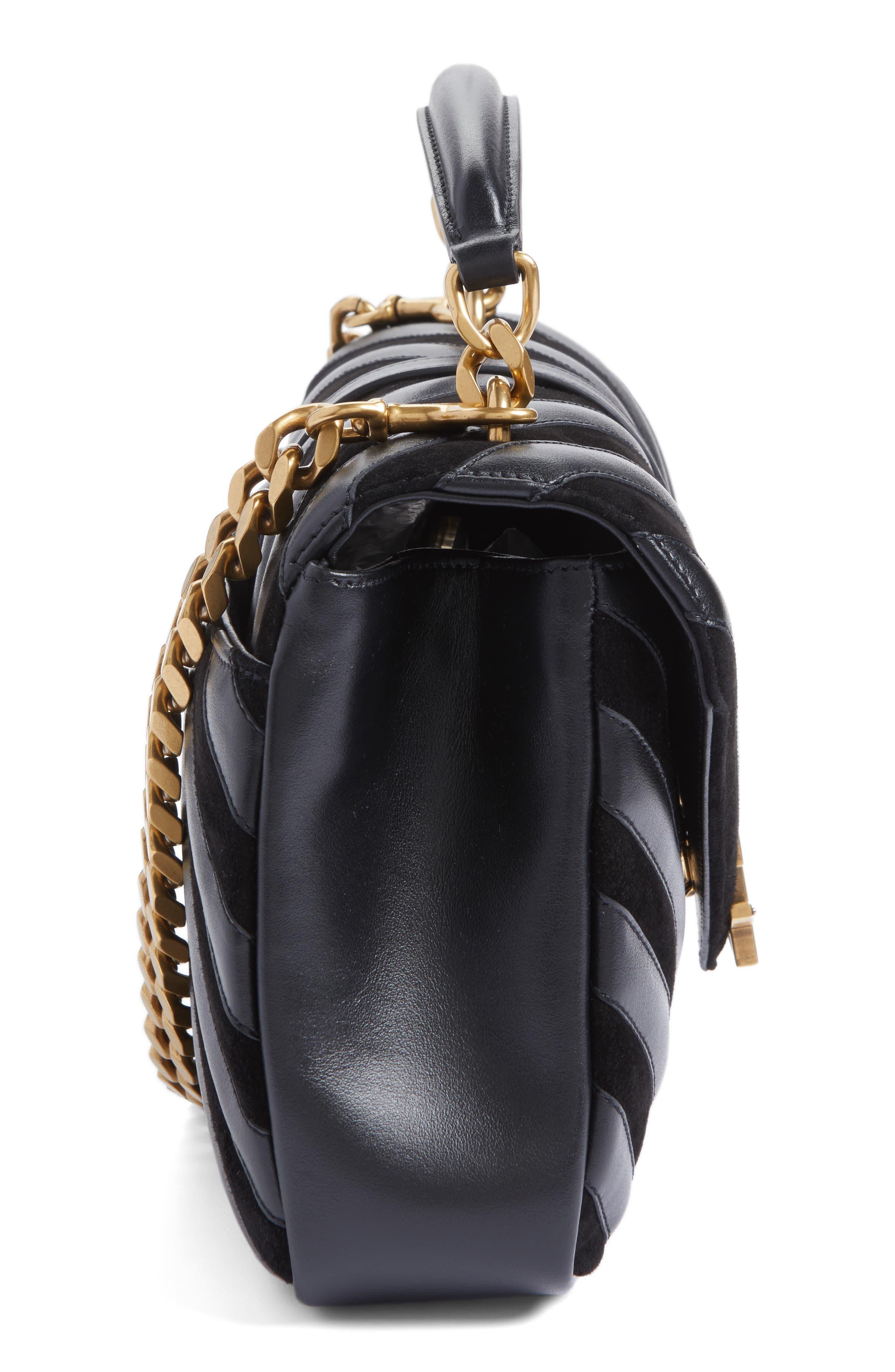 Medium College Patchwork Suede & Leather Shoulder Bag,                             Alternate thumbnail 5, color,                             001