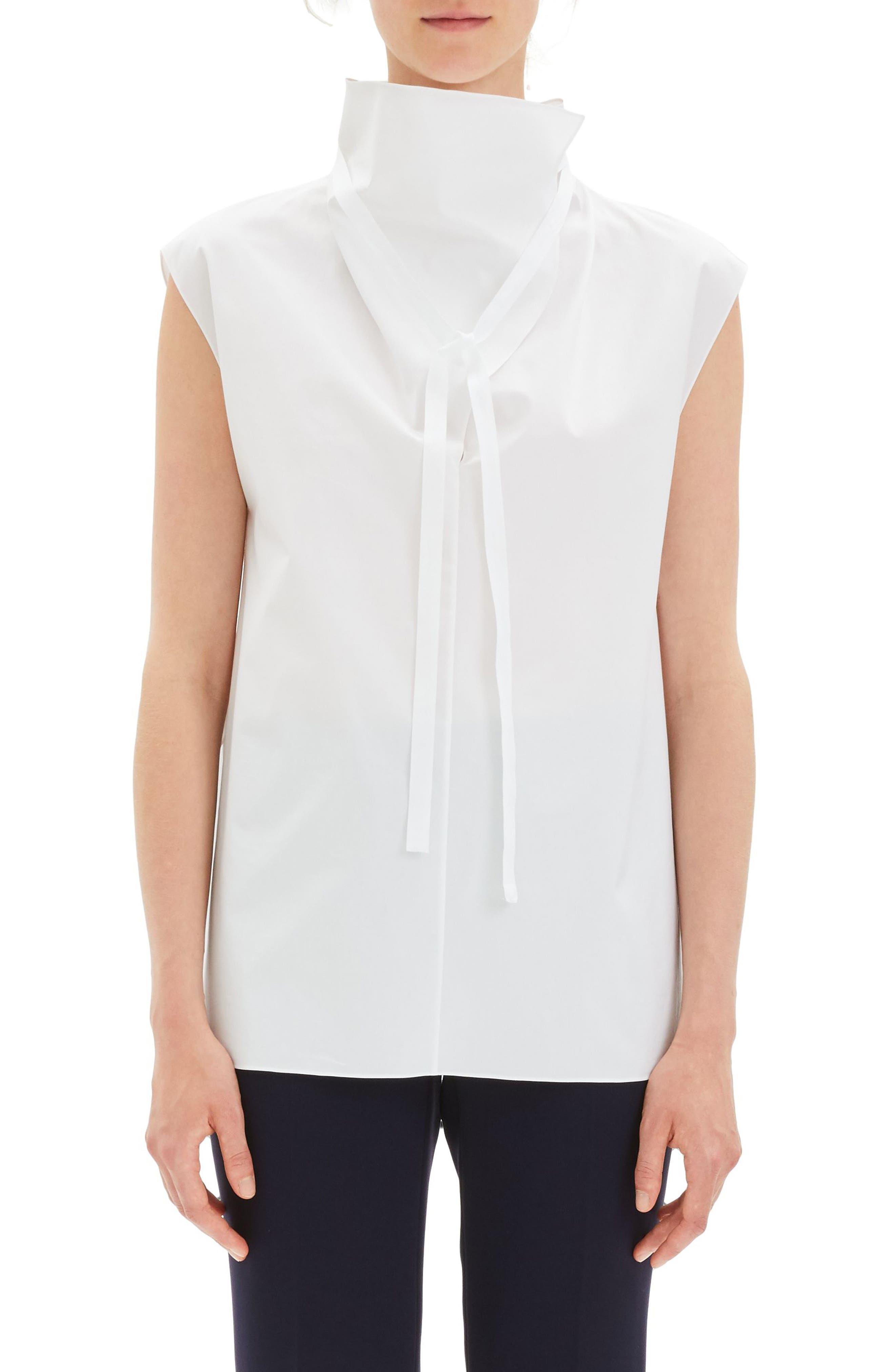 Funnel Neck Tie Top in White