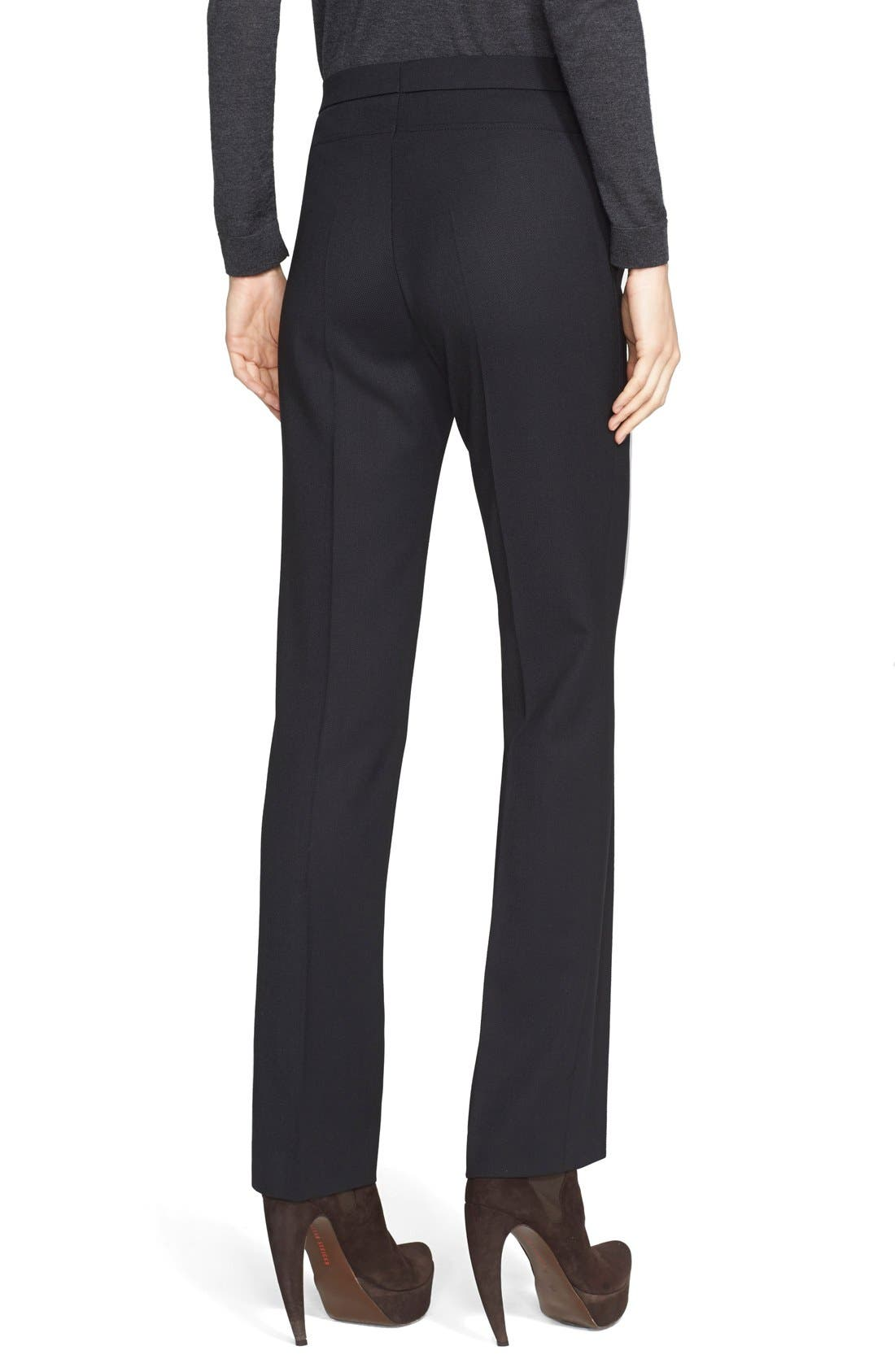 'Francoise' Stretch Gabardine Pants,                             Alternate thumbnail 2, color,                             BLACK