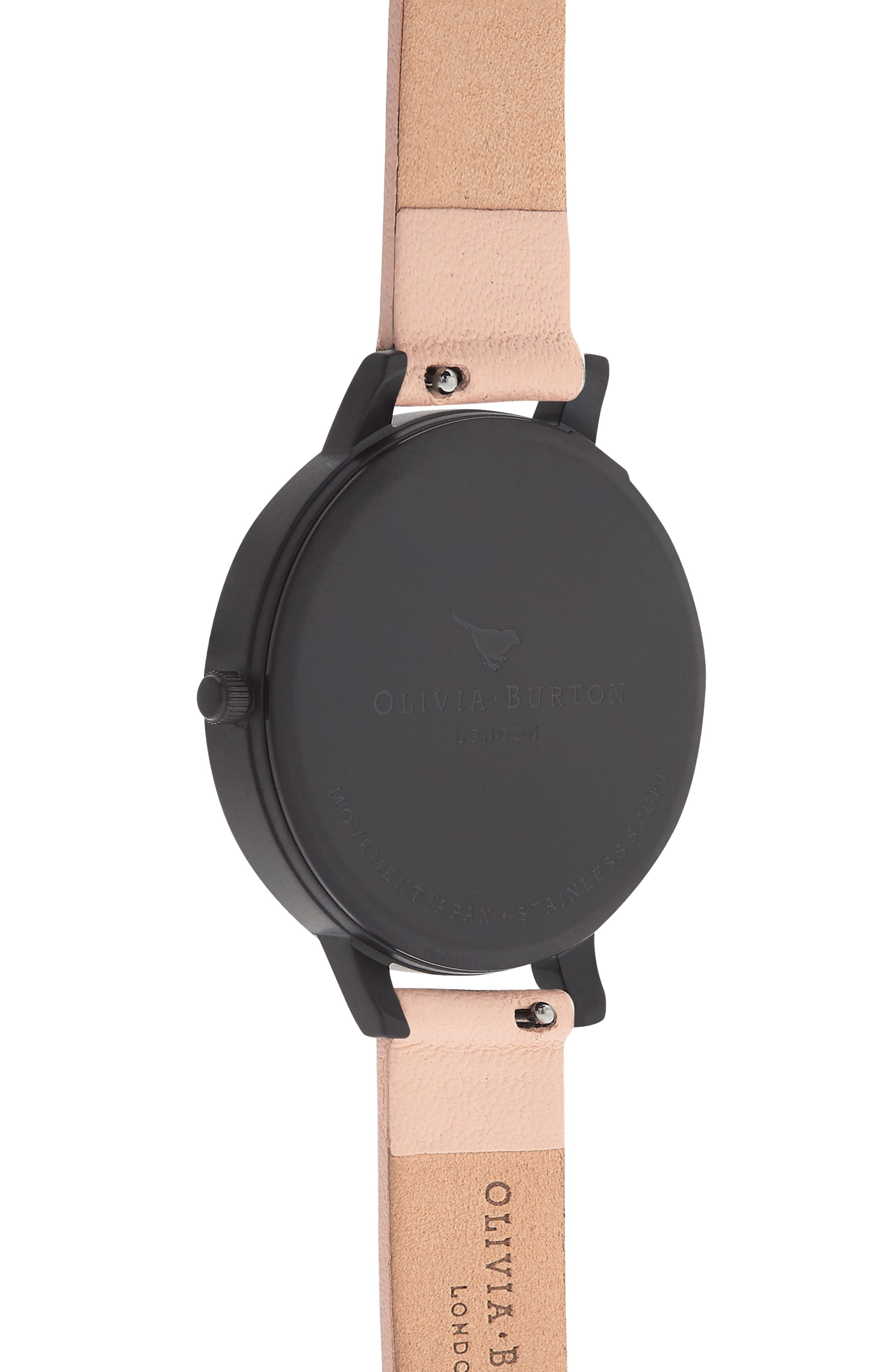 After Dark Leather Strap Watch, 38mm,                             Alternate thumbnail 3, color,                             PINK/ BLACK