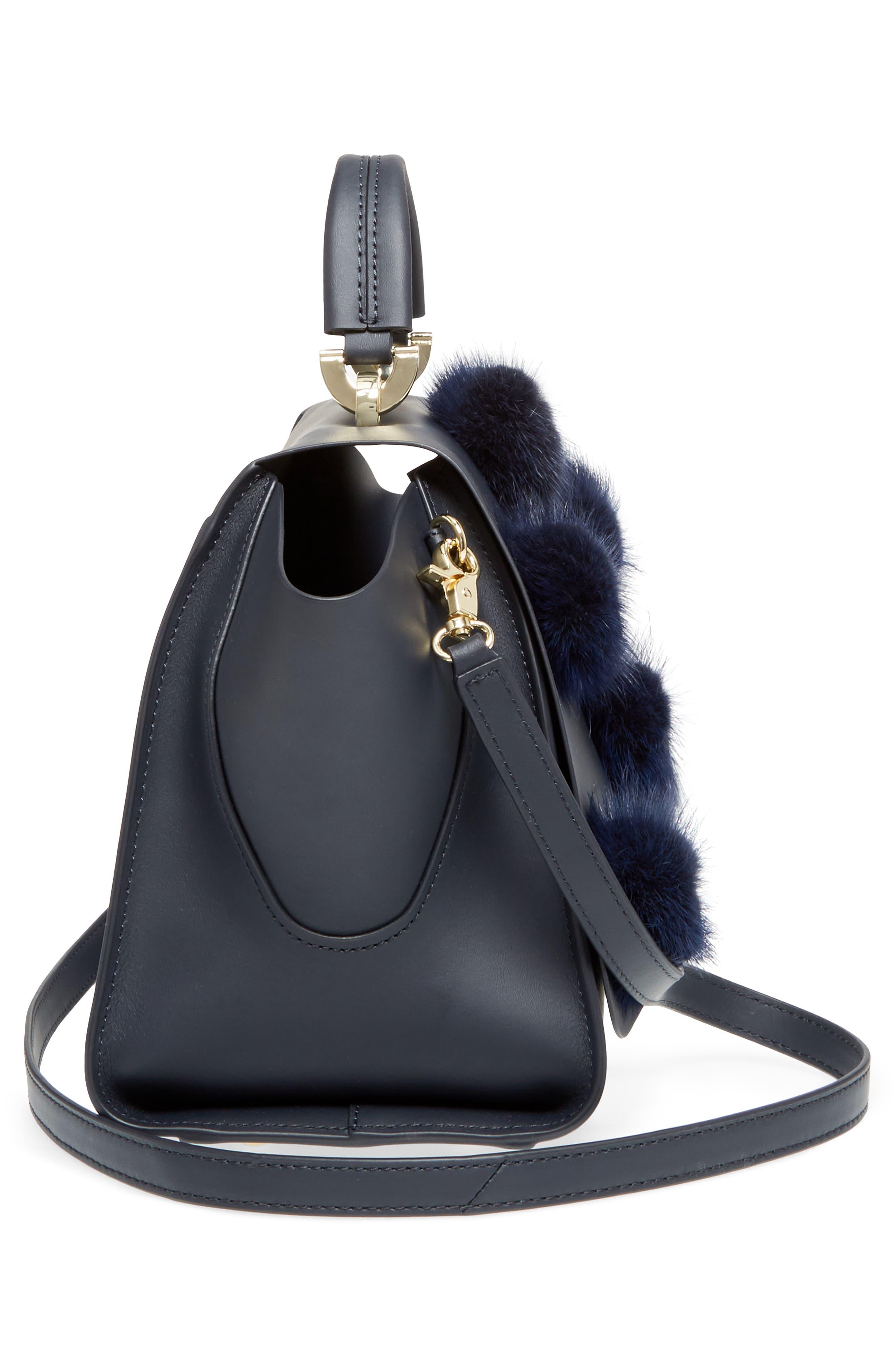 Eartha Iconic Leather & Genuine Mink Fur Satchel,                             Alternate thumbnail 5, color,                             410