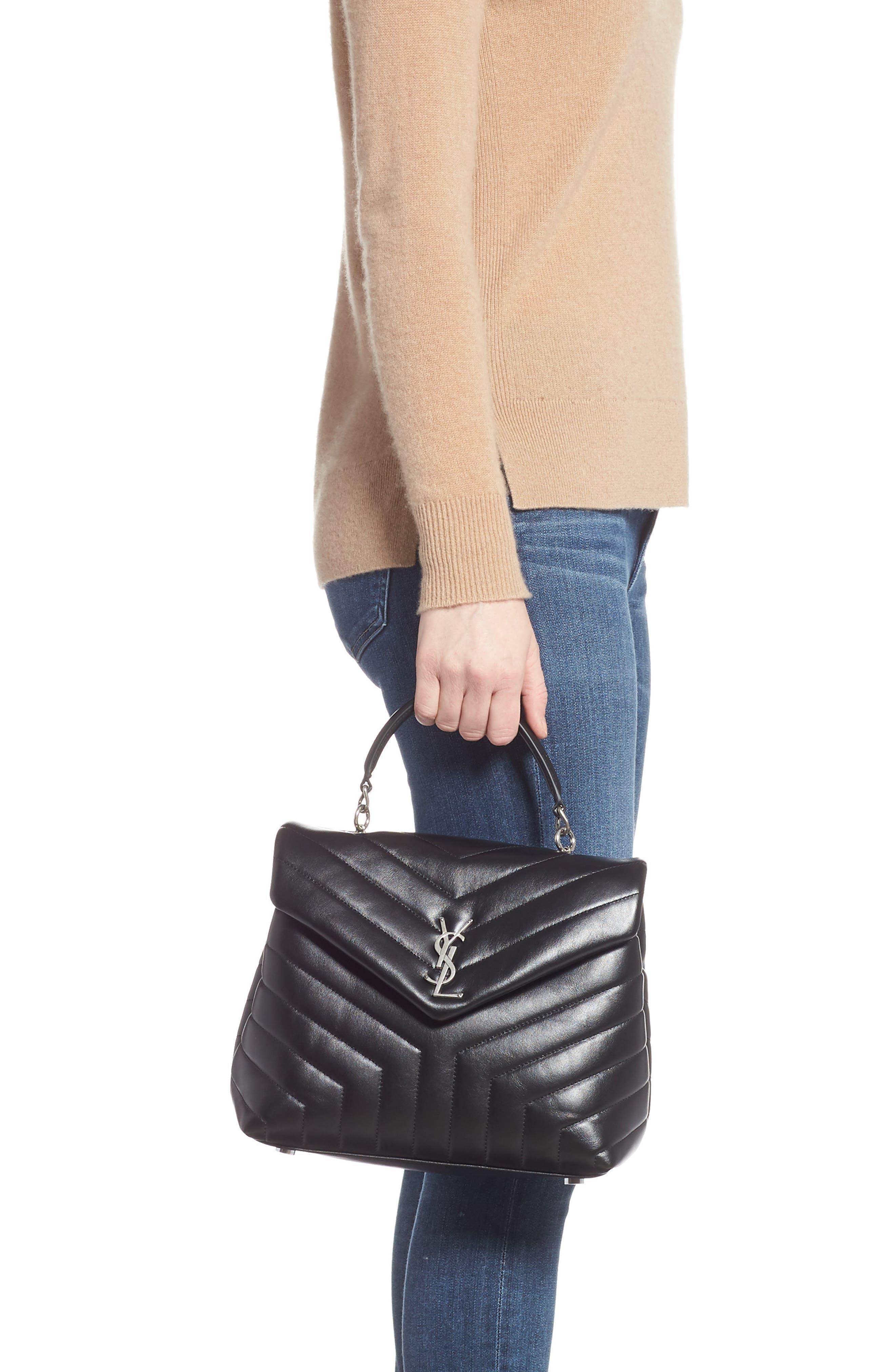Loulou Leather Top Handle Satchel,                             Alternate thumbnail 2, color,                             NERO/ NERO