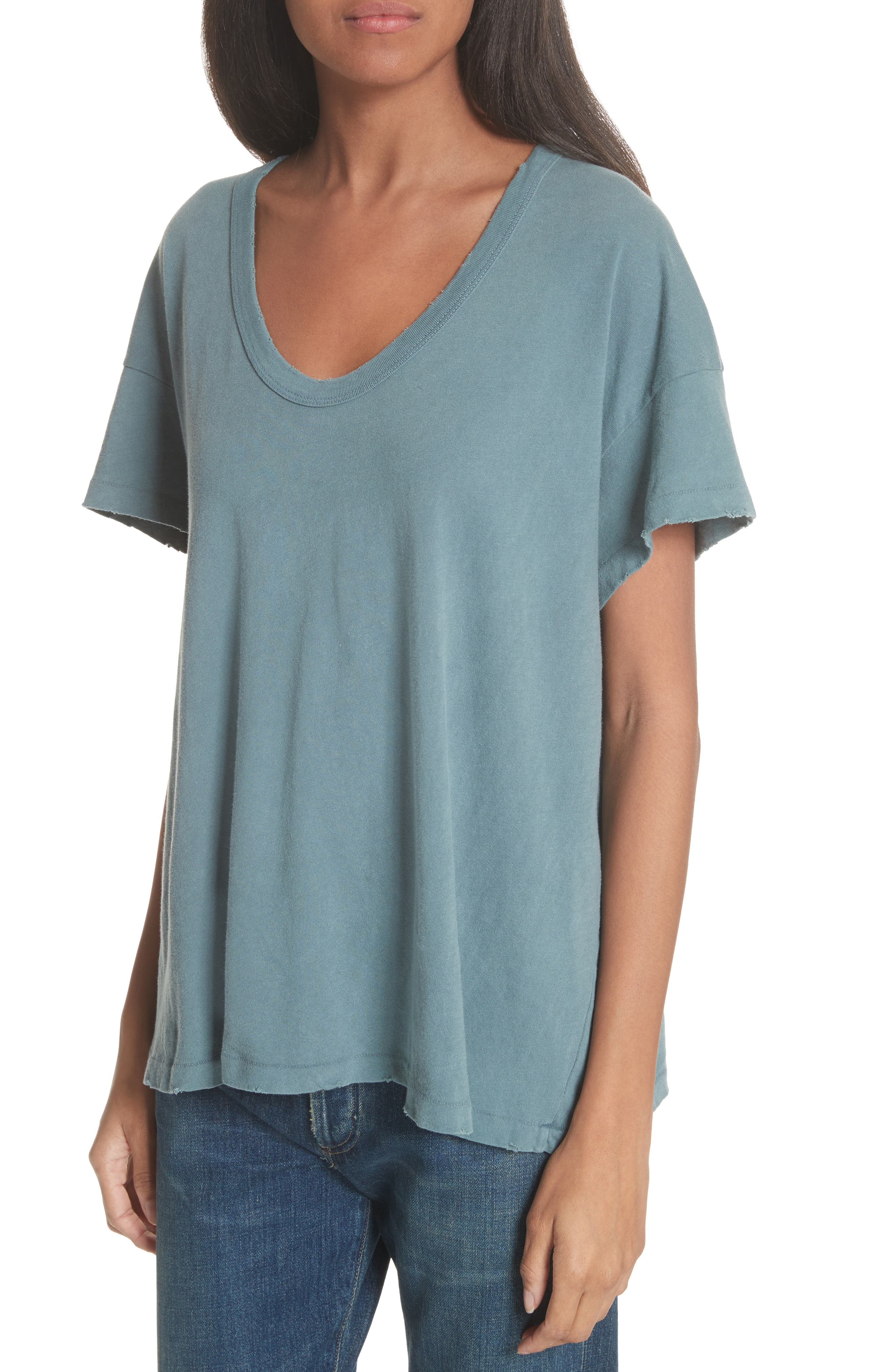 U-Neck Tee,                             Alternate thumbnail 4, color,                             MOTTLED BLUE