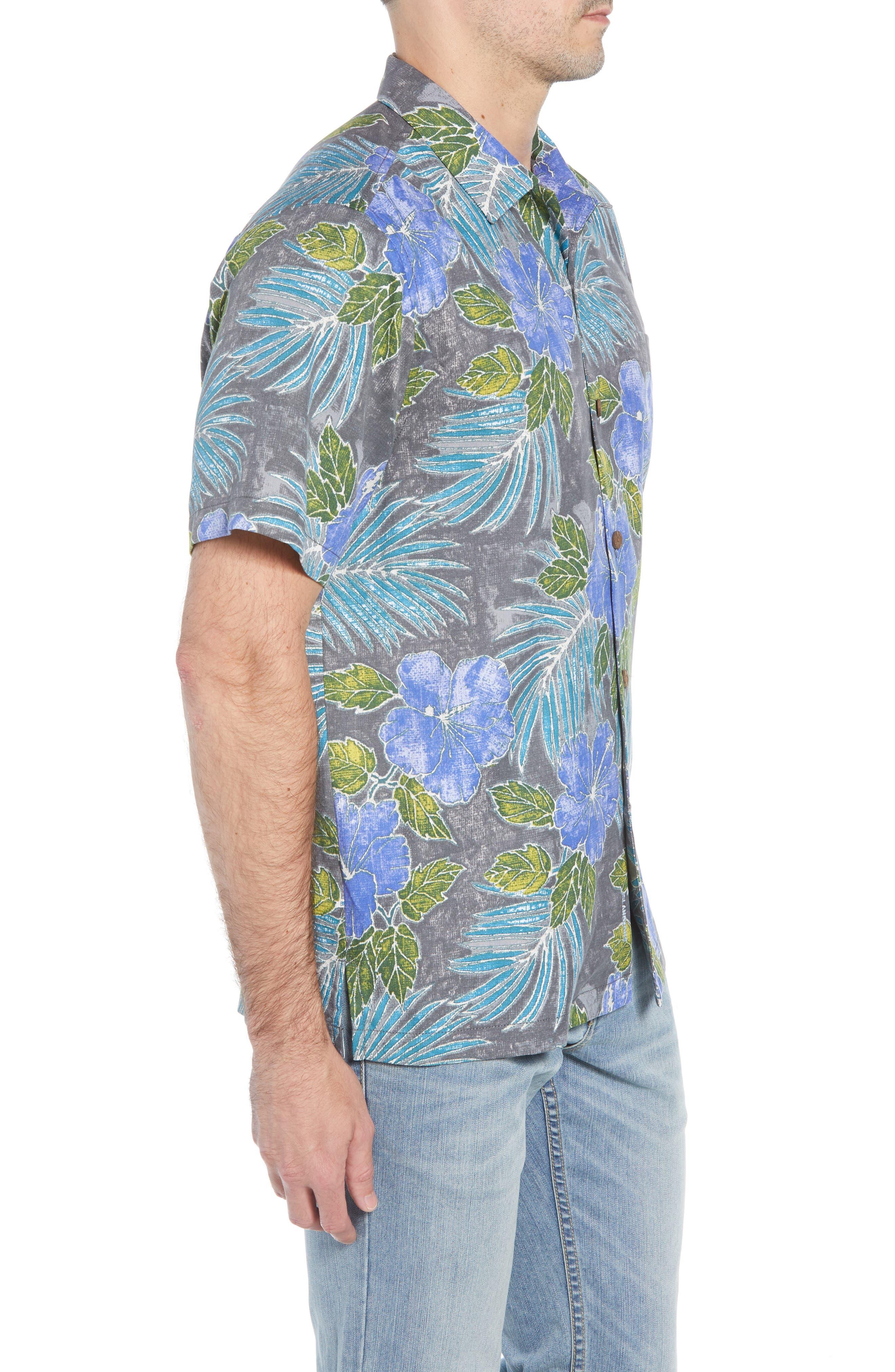 Hibiscus Cove Short Sleeve Silk Blend Sport Shirt,                             Alternate thumbnail 4, color,                             ONYX