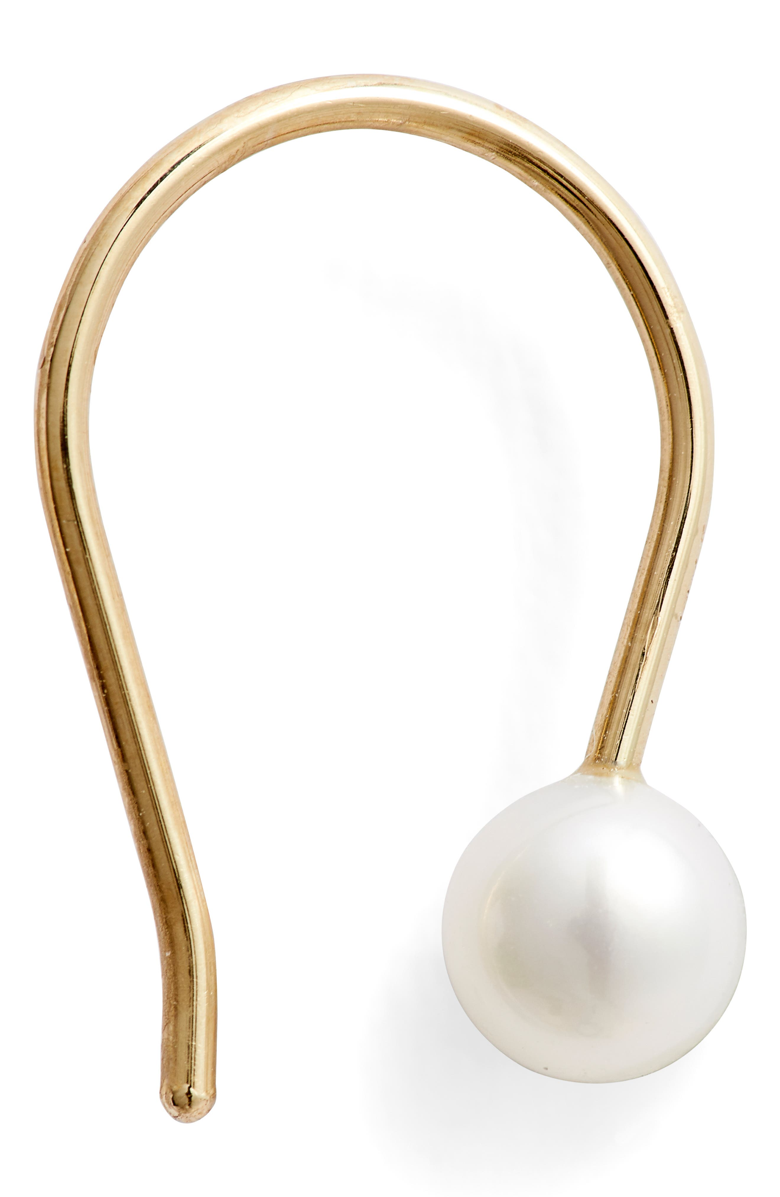 Baby Cultured Pearl Earrings,                             Alternate thumbnail 4, color,                             YELLOW GOLD/ WHITE PEARL