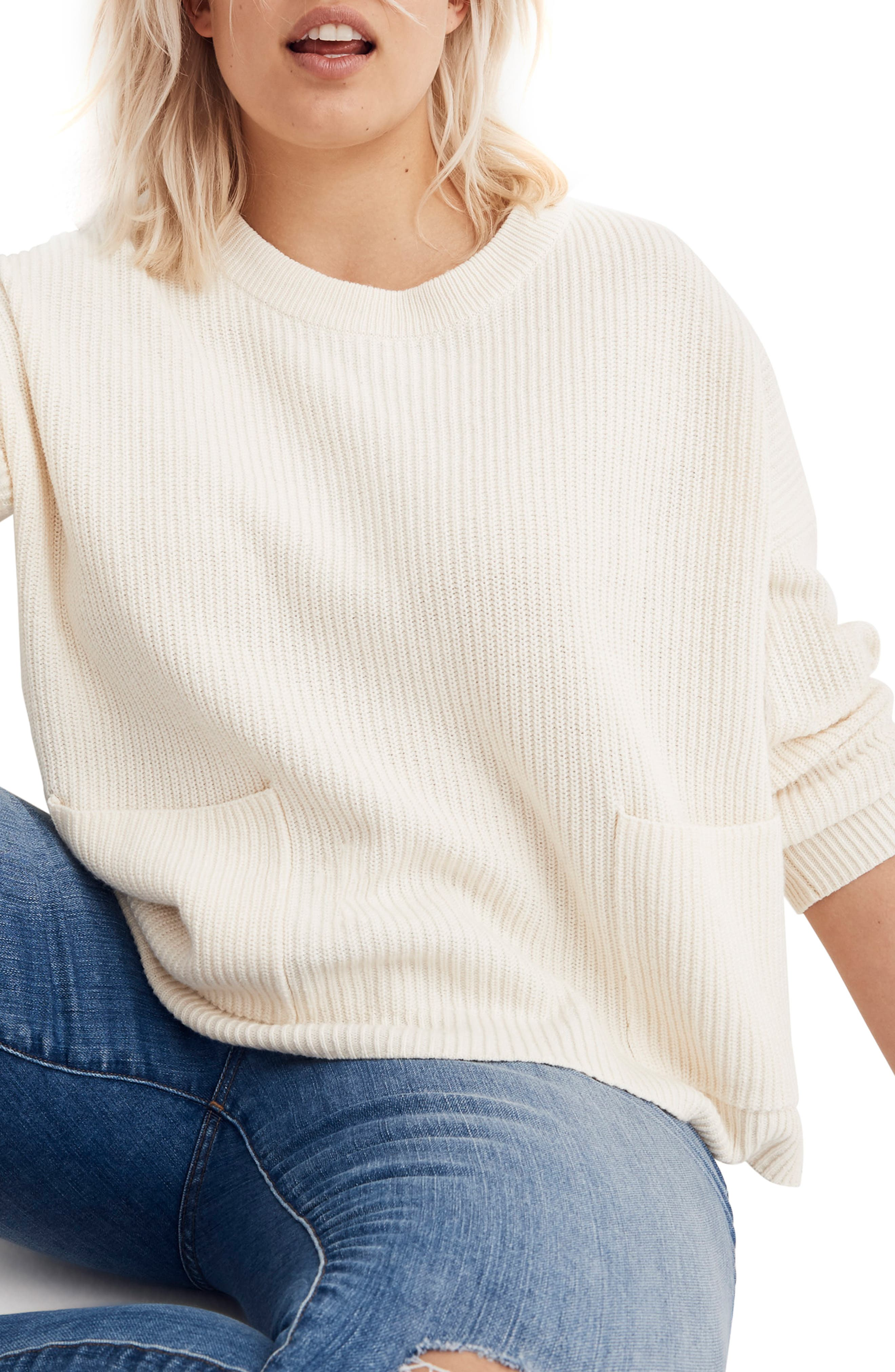 Patch Pocket Pullover Sweater,                             Alternate thumbnail 2, color,                             BRIGHT IVORY