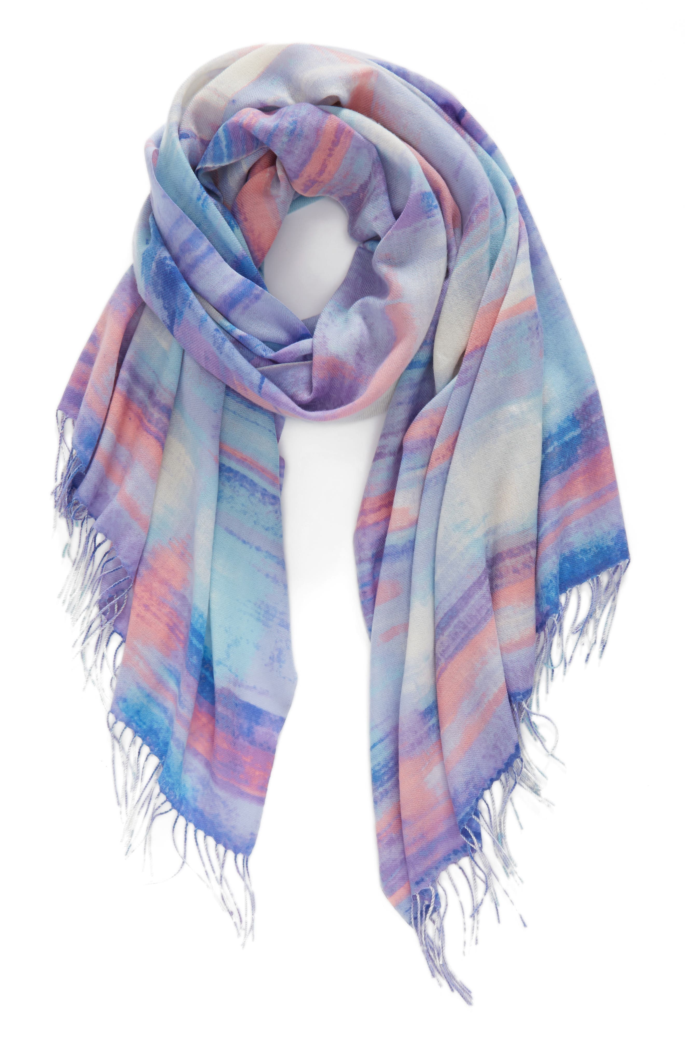 Tissue Print Wool & Cashmere Wrap Scarf,                             Alternate thumbnail 46, color,