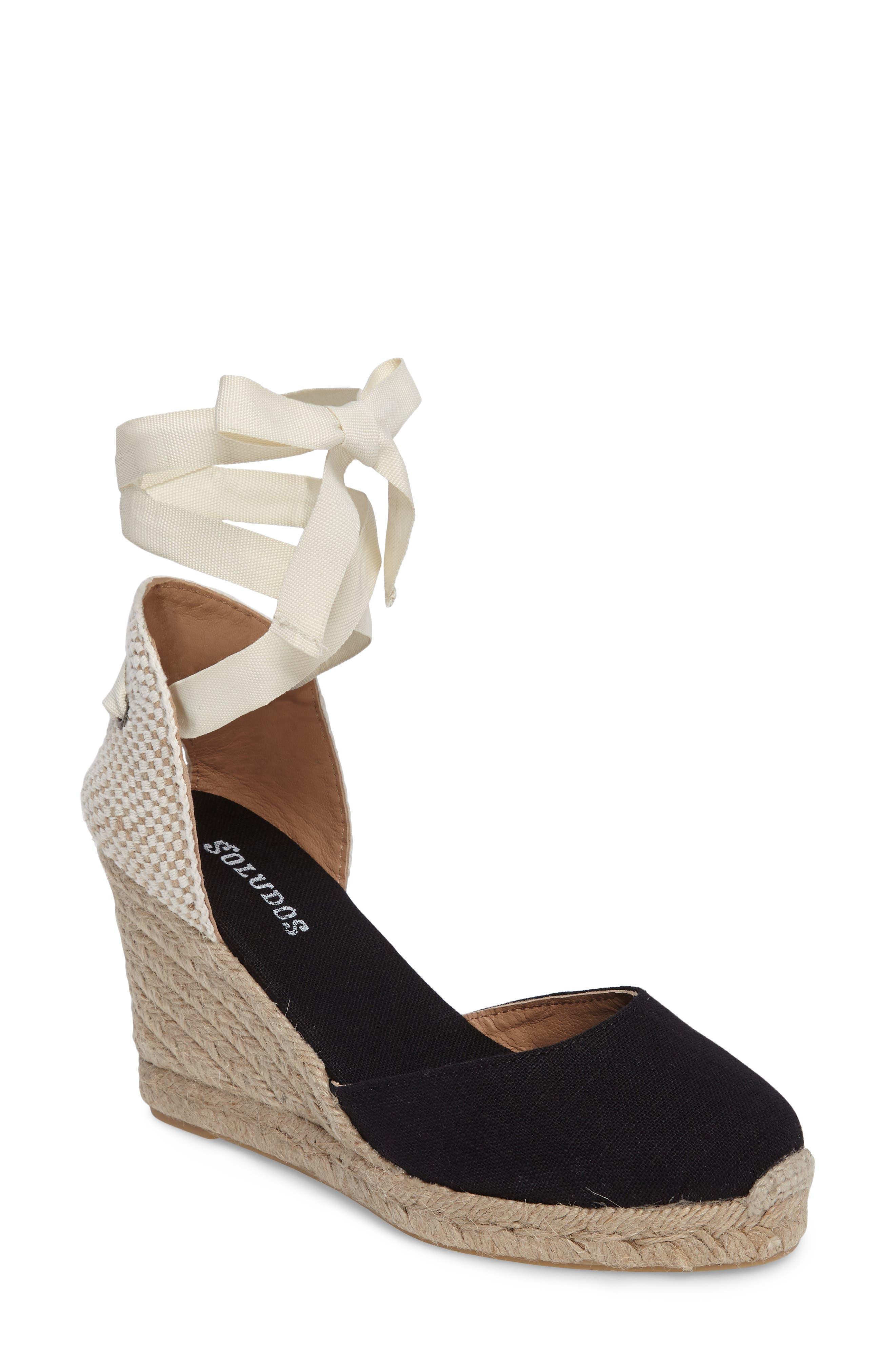 Wedge Lace-Up Espadrille Sandal,                         Main,                         color, BLACK