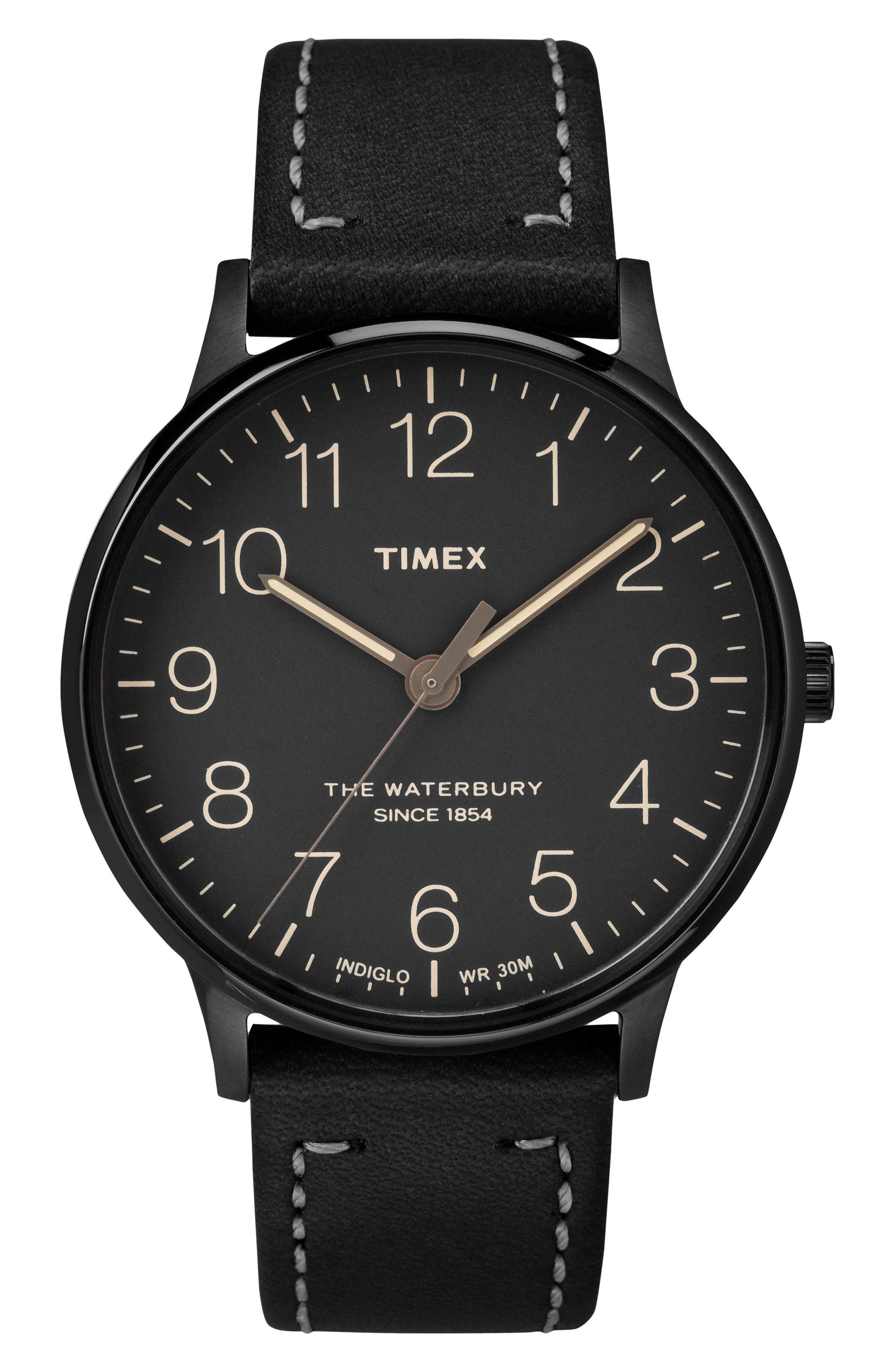Waterbury Leather Strap Watch, 40mm,                             Main thumbnail 1, color,                             BLACK