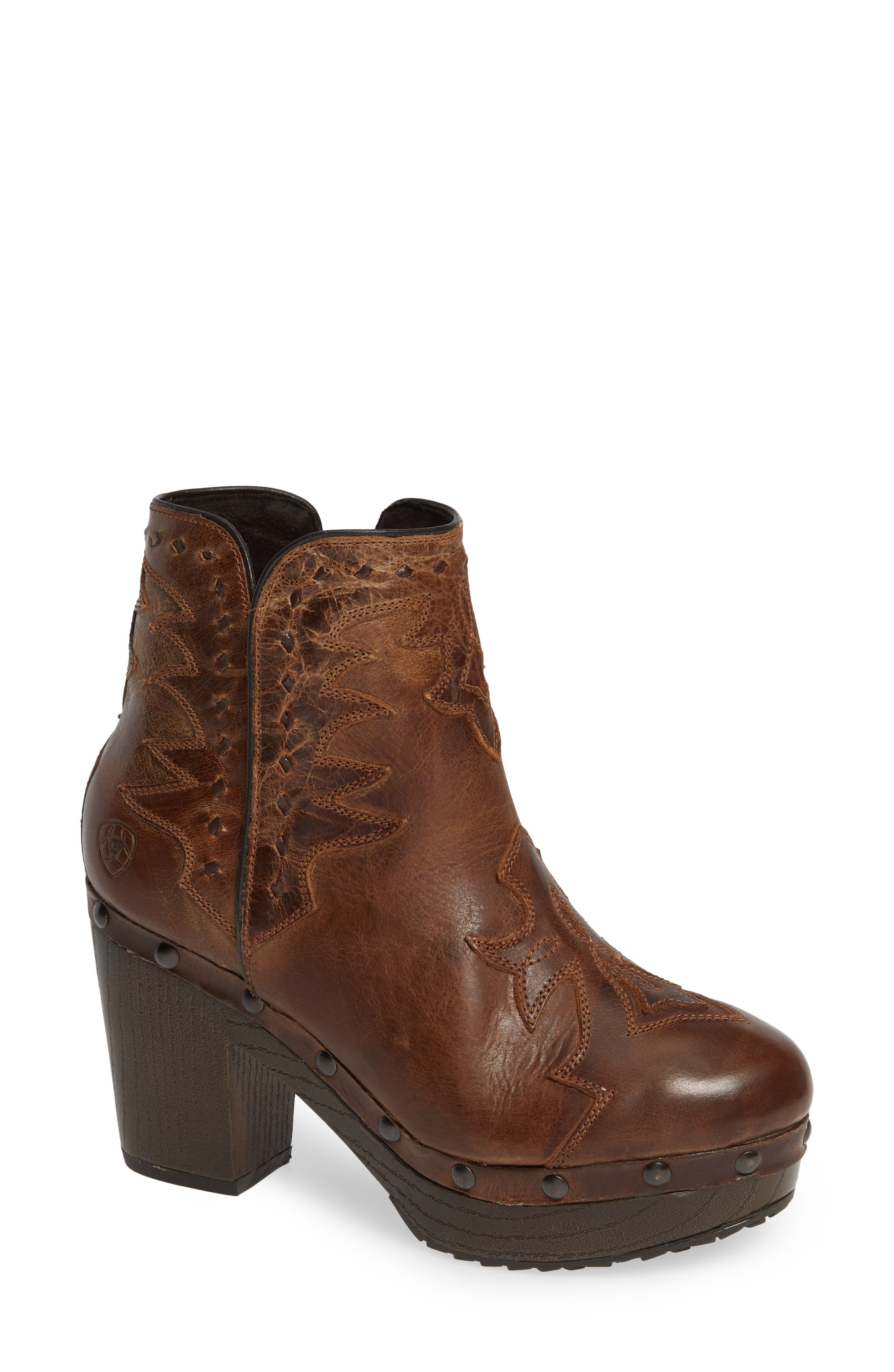 Music City Bootie,                             Main thumbnail 1, color,                             CRACKLED TAN LEATHER