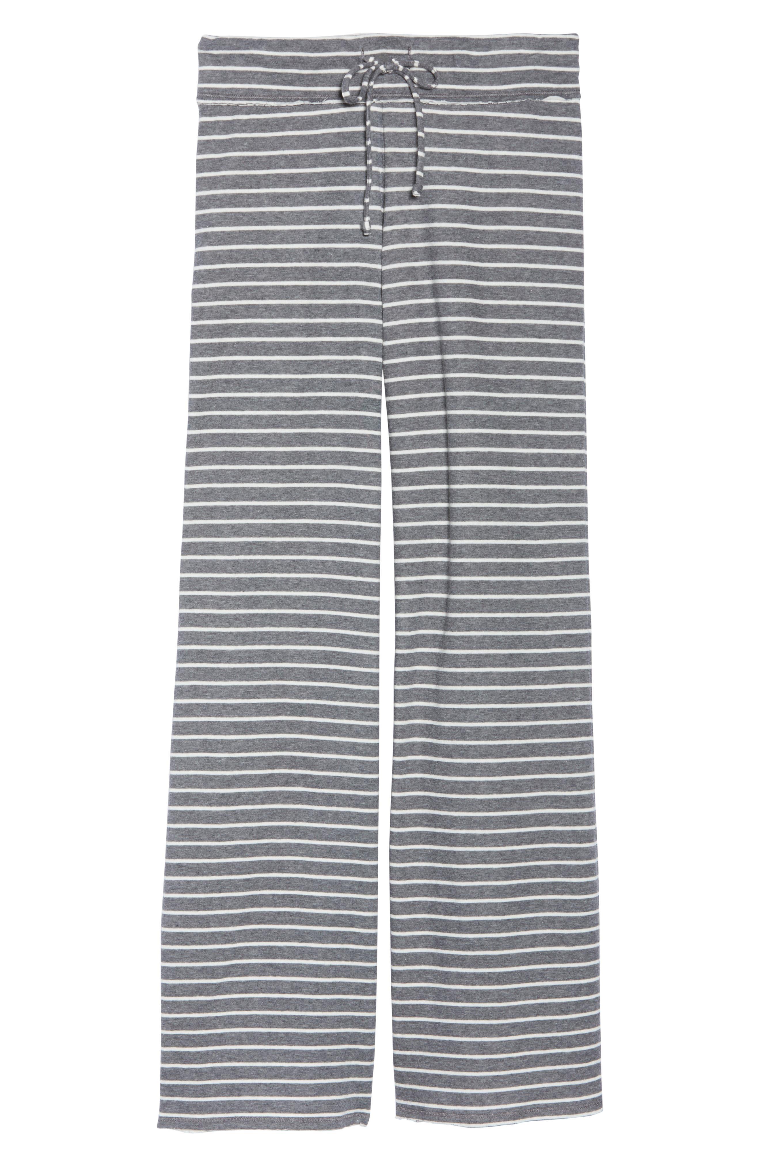 'Lazy Mornings' Lounge Pants,                             Alternate thumbnail 6, color,                             GREY PAVEMENT BELLA STRIPE
