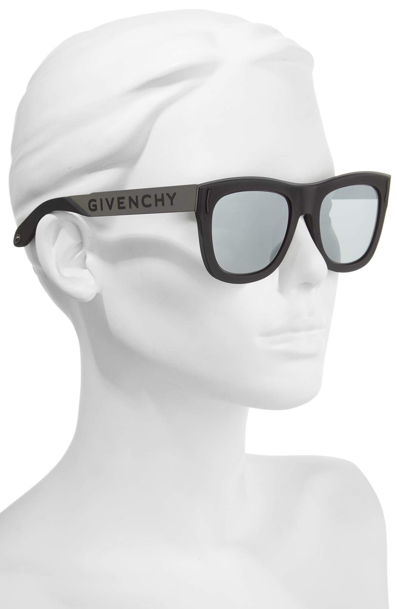 52mm Mirrored Rectangular Sunglasses,                             Alternate thumbnail 2, color,                             001
