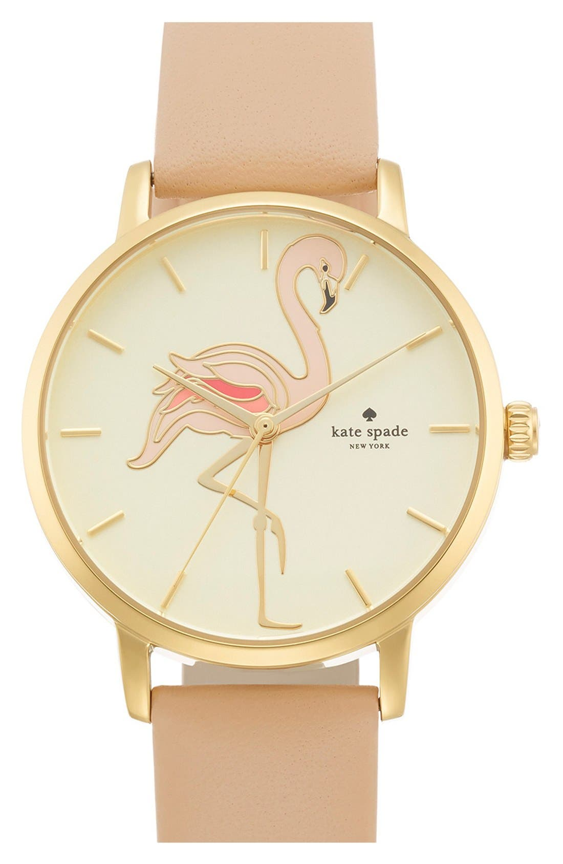 'metro' flamingo dial leather strap watch, 34mm,                         Main,                         color, 200