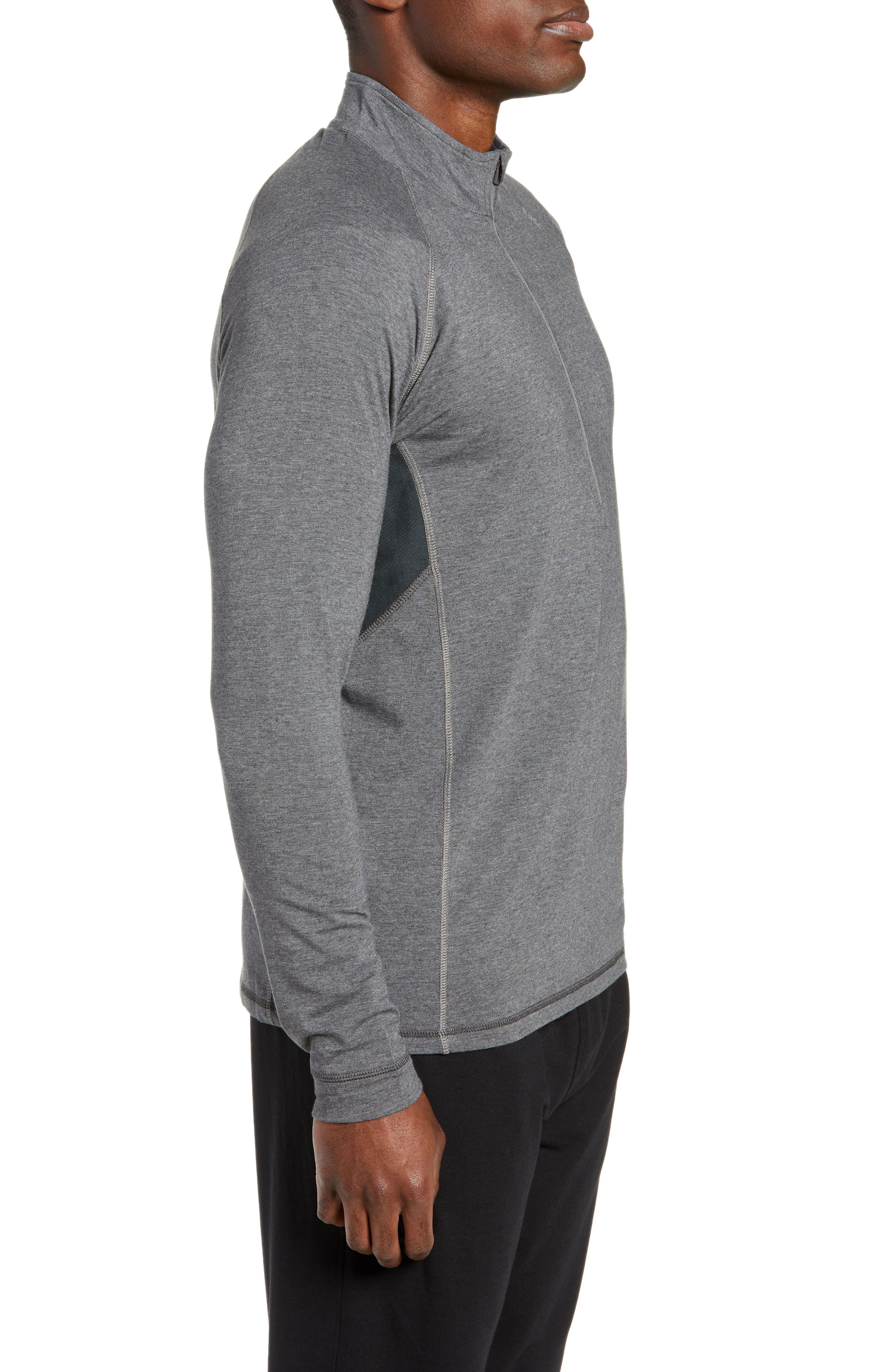 Charge II Half Zip Pullover,                             Alternate thumbnail 3, color,                             BLACK HEATHER