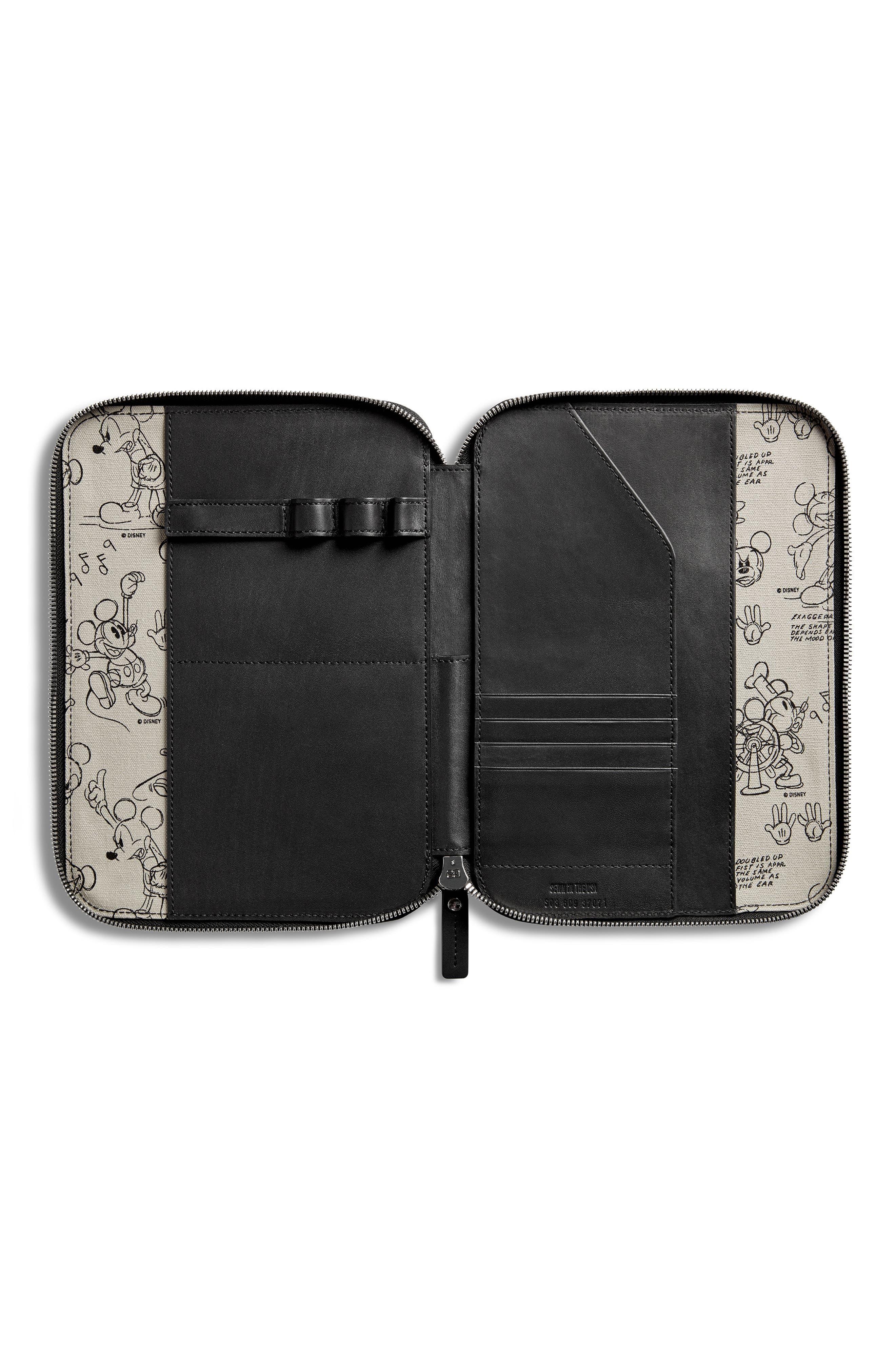 SHINOLA,                             x Disney Leather Tech Portfolio,                             Alternate thumbnail 3, color,                             BLACK