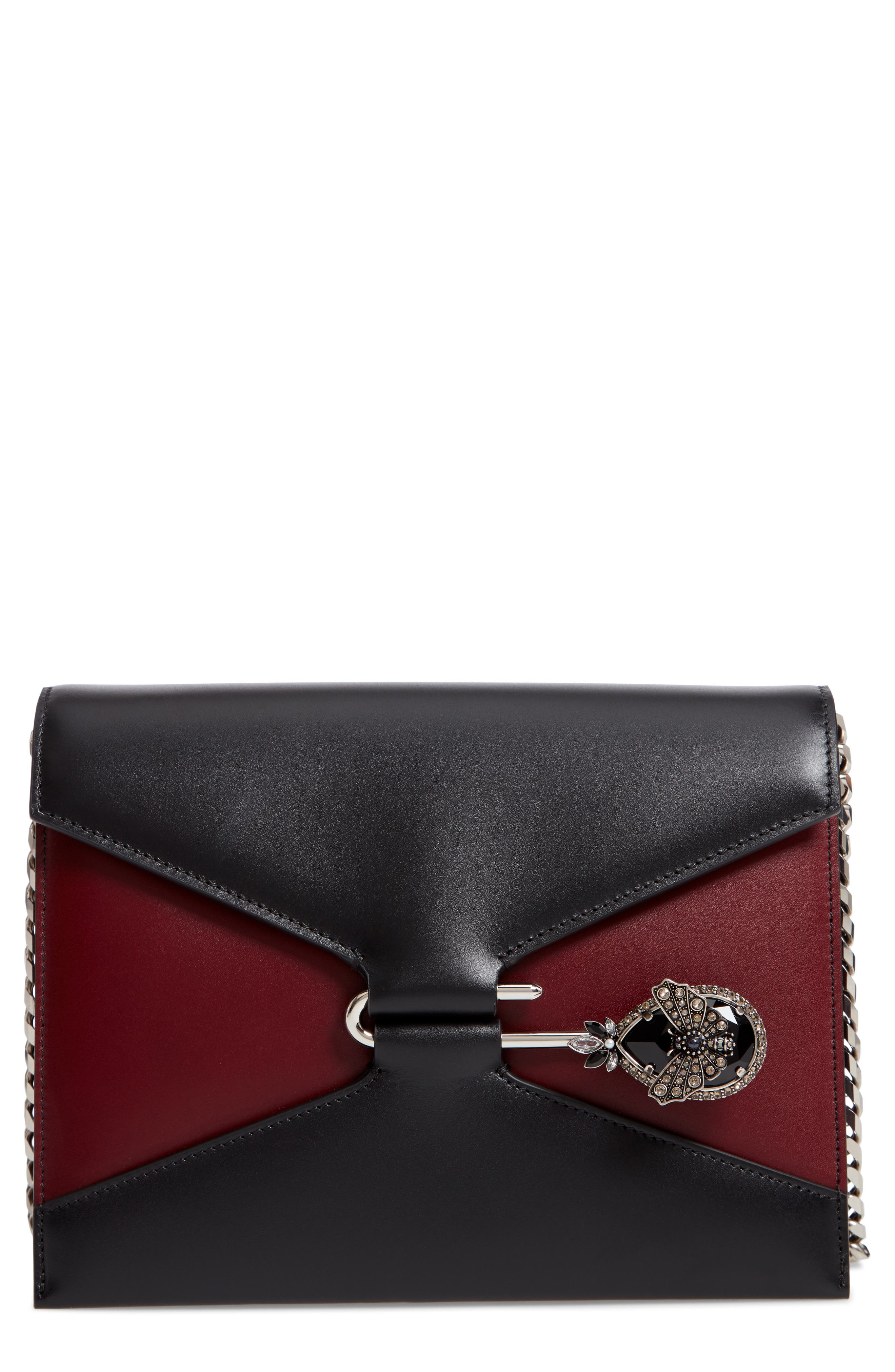 Pin Calfskin Leather Shoulder Bag,                             Main thumbnail 1, color,