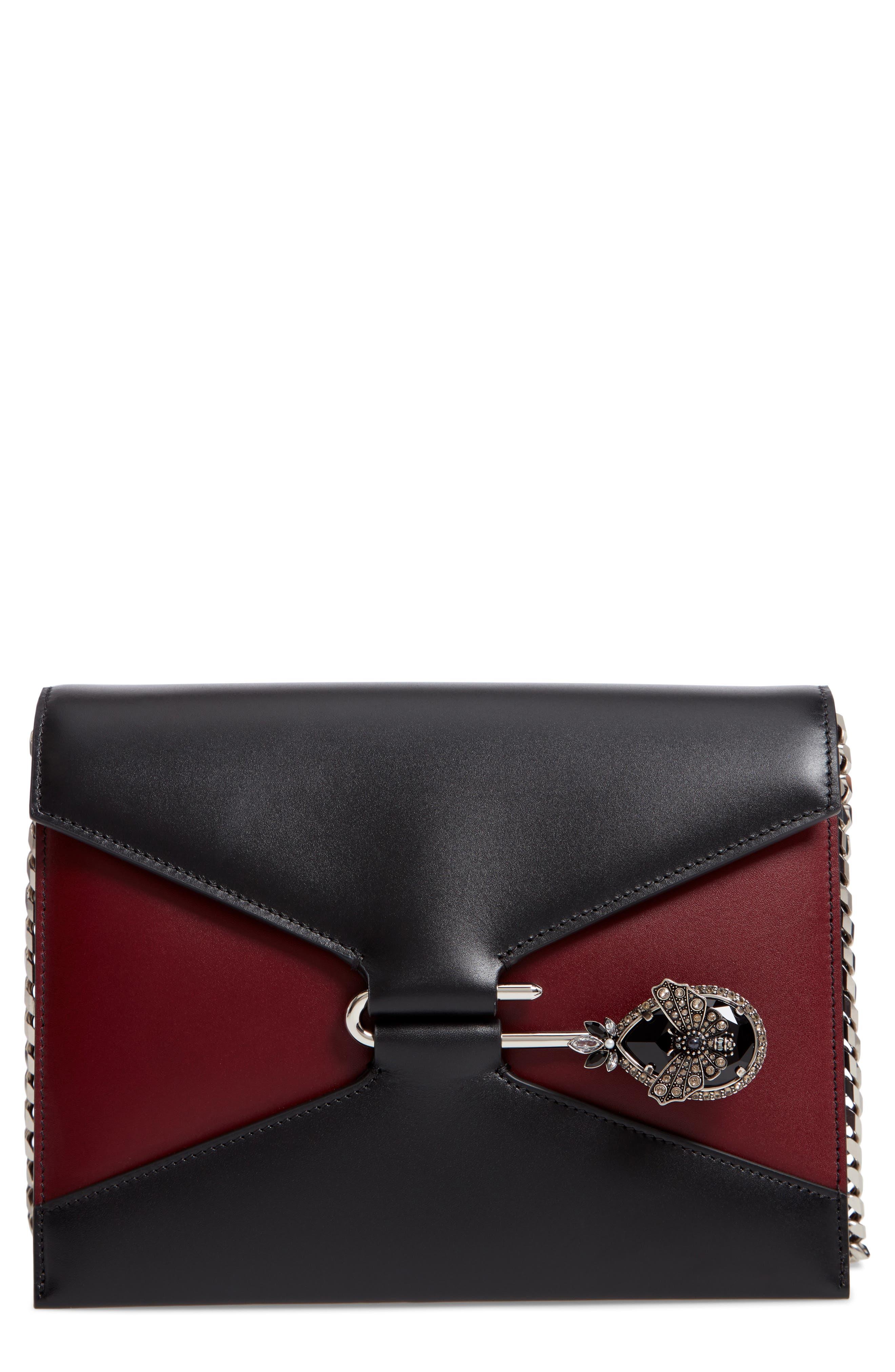 Pin Calfskin Leather Shoulder Bag,                         Main,                         color,