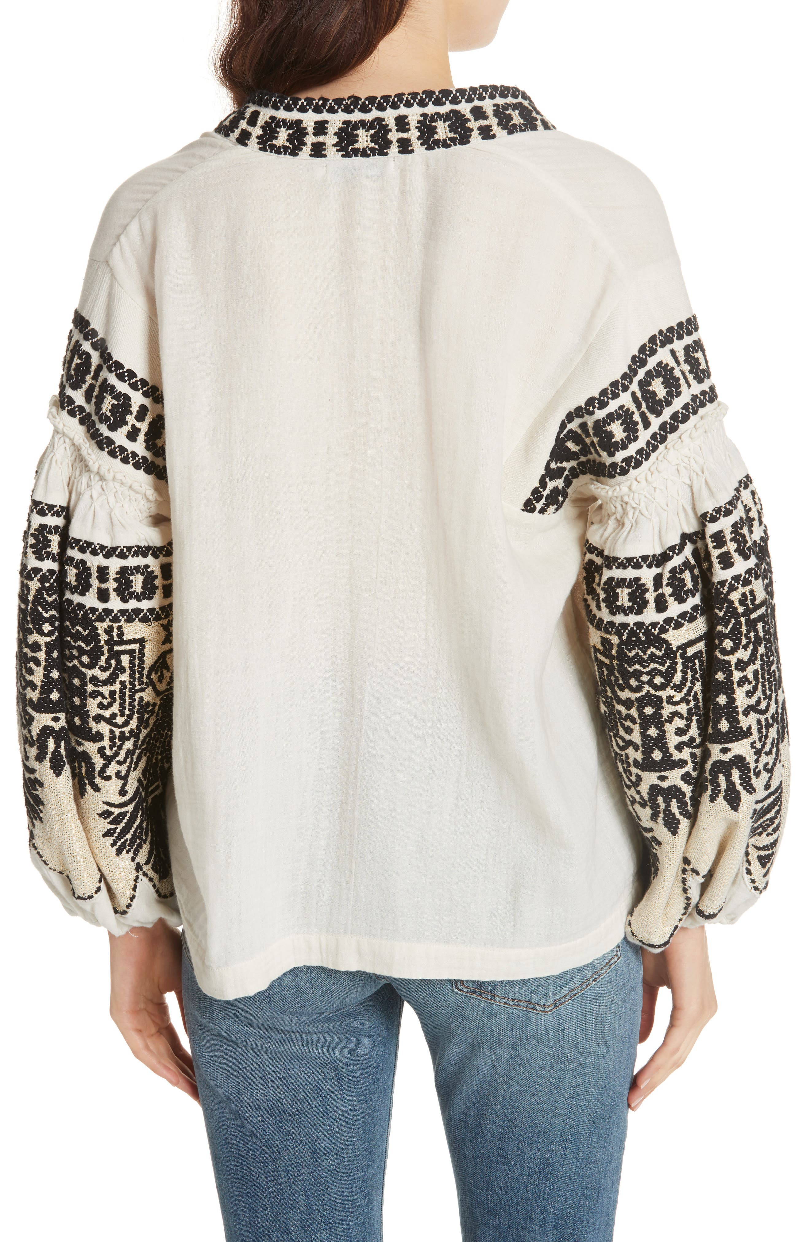 Petra Embroidered Blouse,                             Alternate thumbnail 2, color,                             IVORY