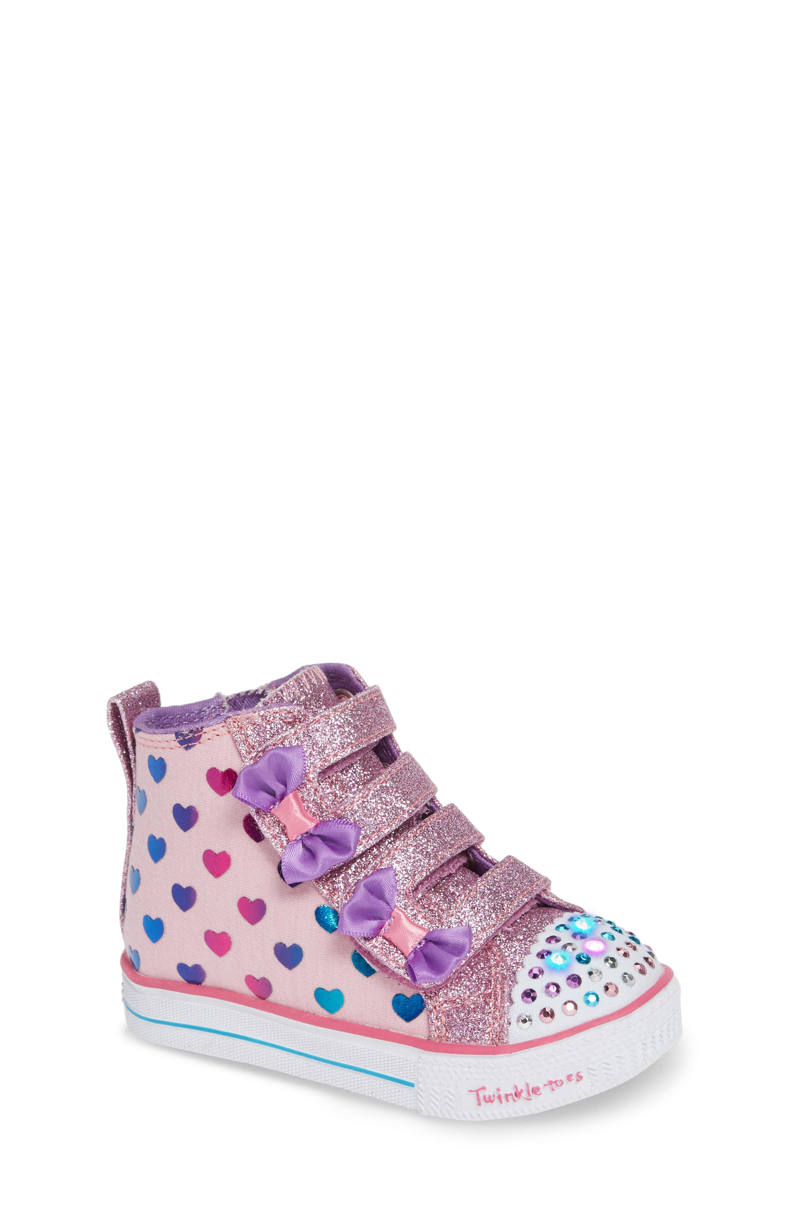 Shuffle Lite Fancy Flutters Light-Up High Top Sneaker,                             Alternate thumbnail 7, color,                             PINK/ MULTI