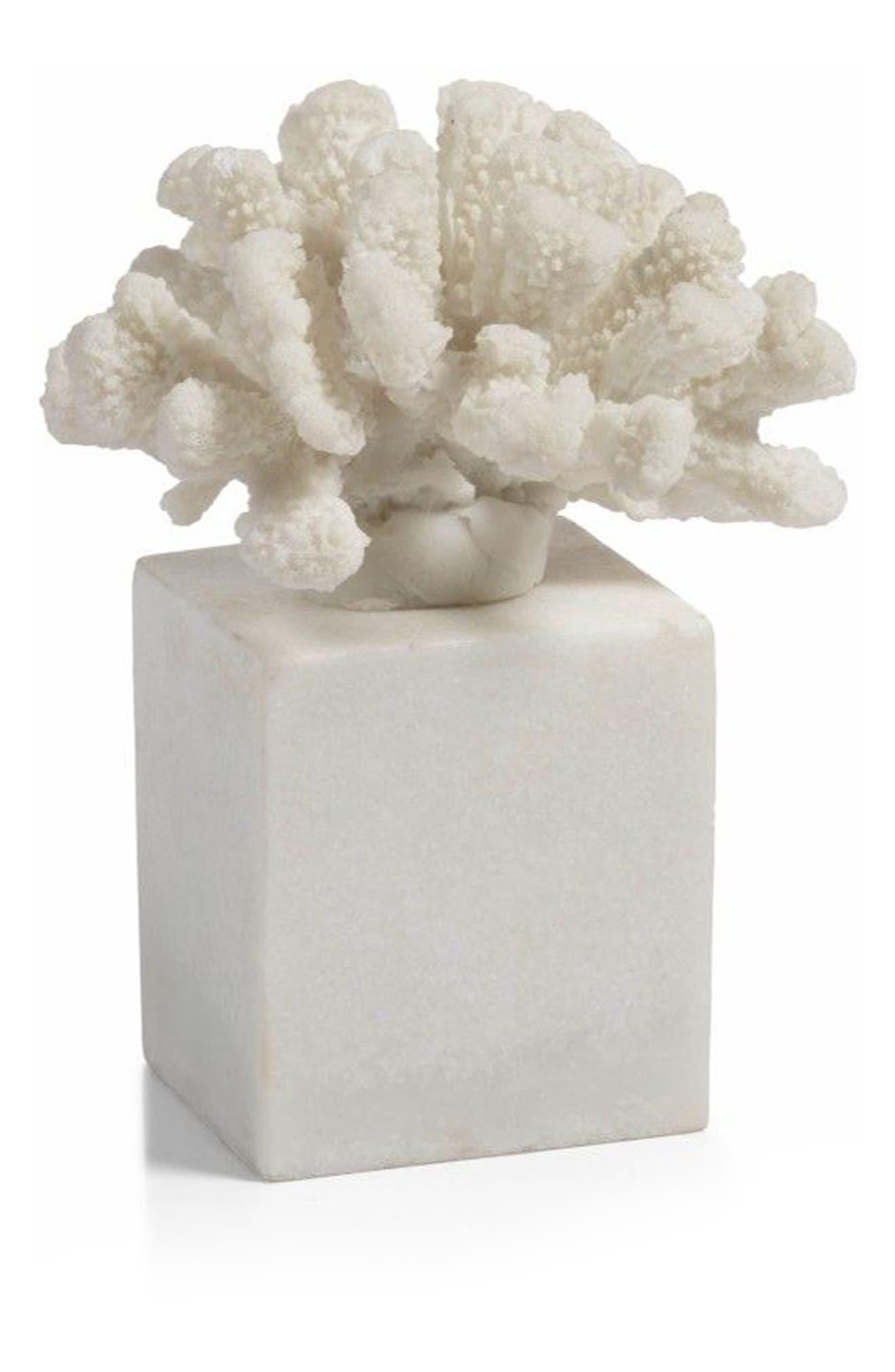 Morgana Square Base Coral Sculpture,                             Main thumbnail 1, color,                             100