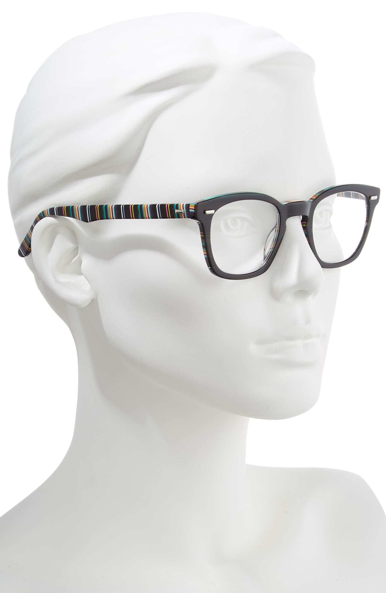 'Annie' 46mm Reading Glasses,                             Alternate thumbnail 2, color,                             BLACK/ STRIPE