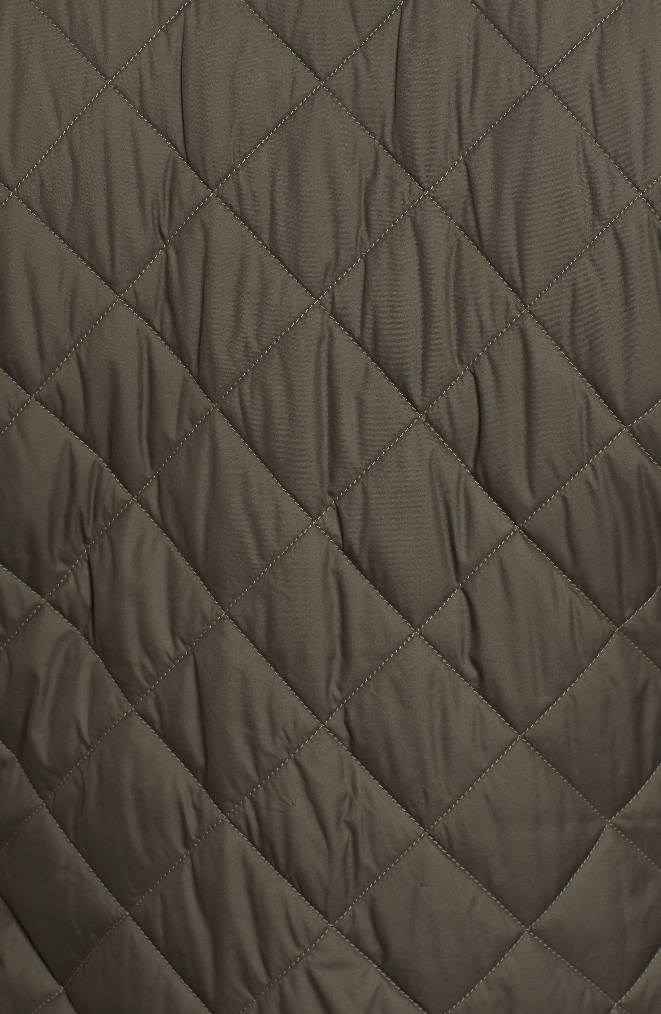 Suffolk Quilted Water-Resistant Car Coat,                             Alternate thumbnail 7, color,                             OLIVE