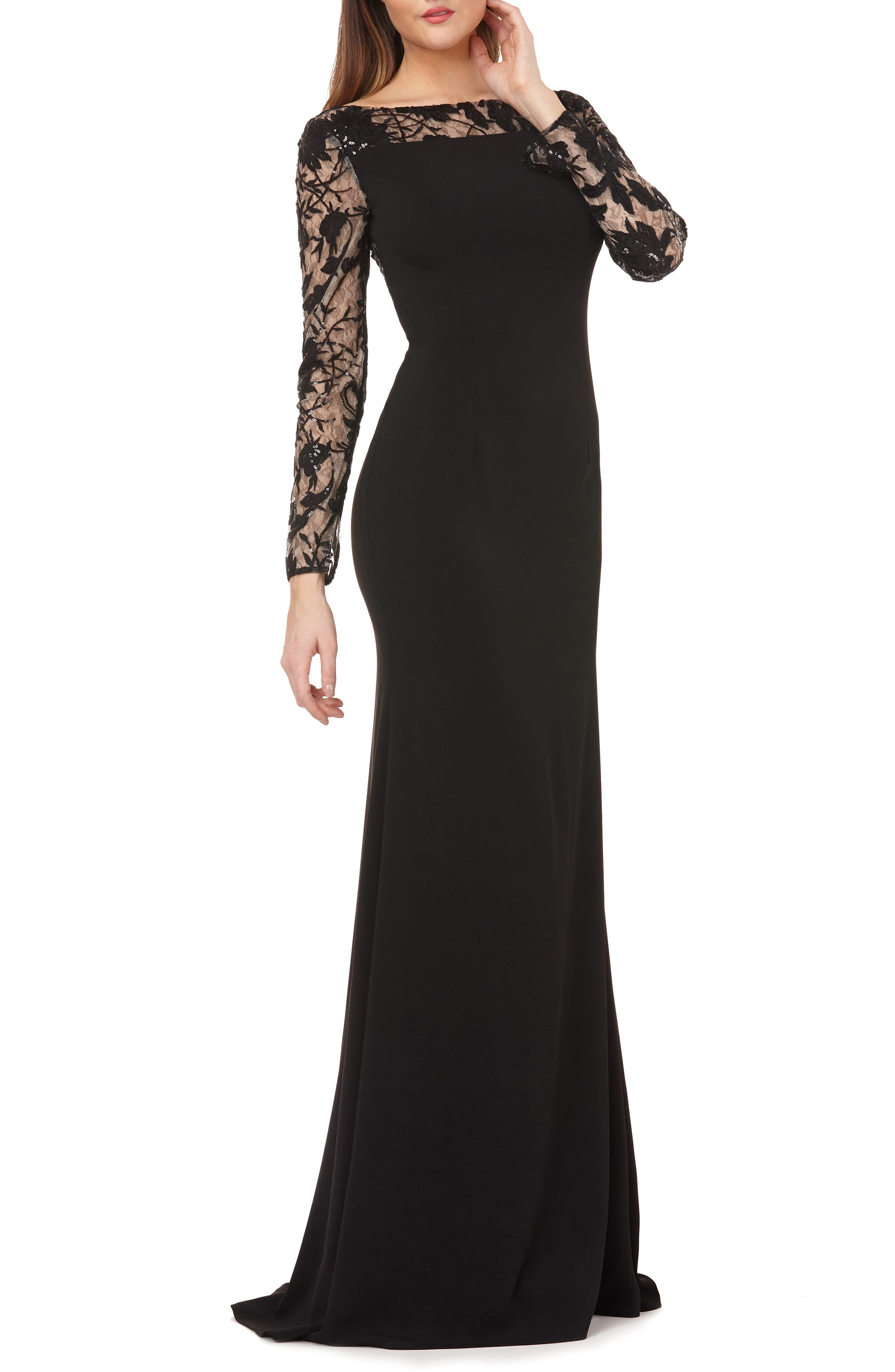 CARMEN MARC VALVO INFUSION Lace & Crepe Gown in Black