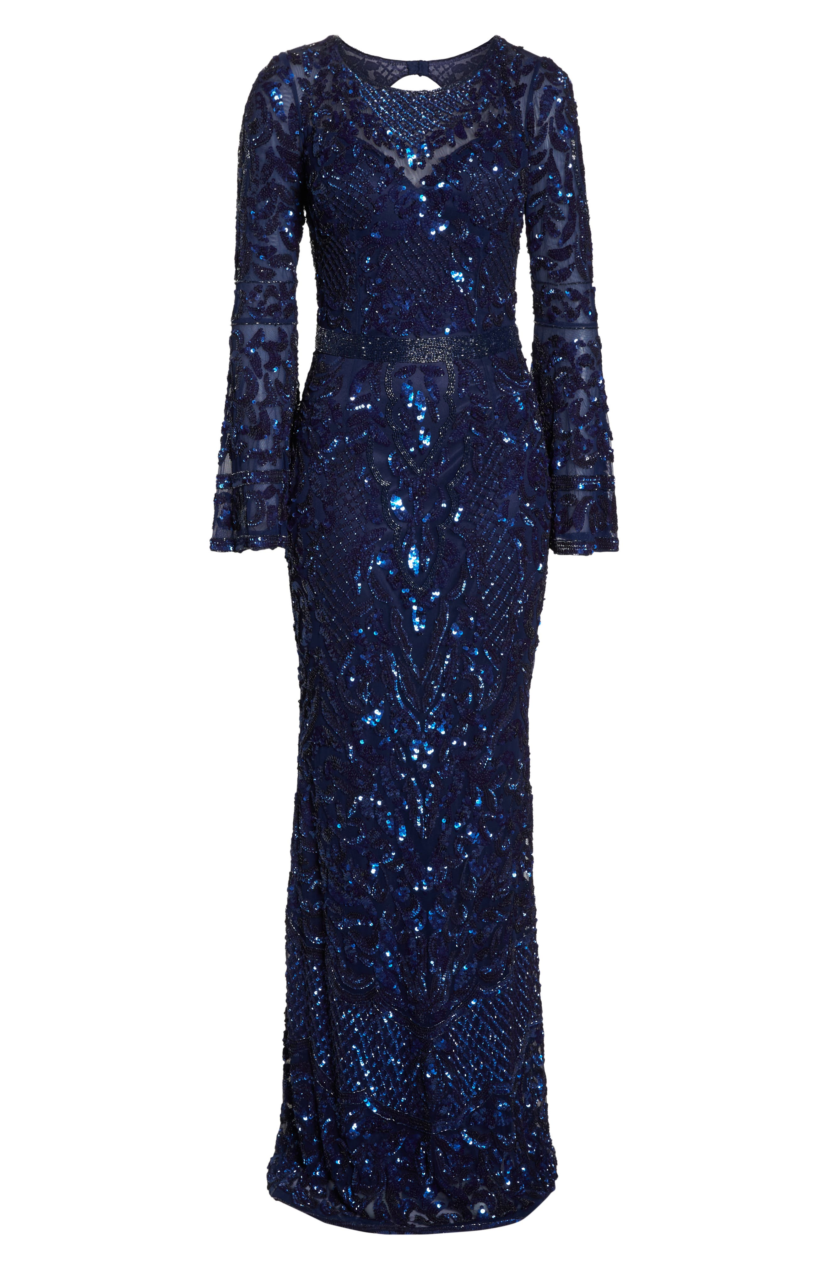Sequin Bell Sleeve Gown,                             Alternate thumbnail 7, color,                             MIDNIGHT