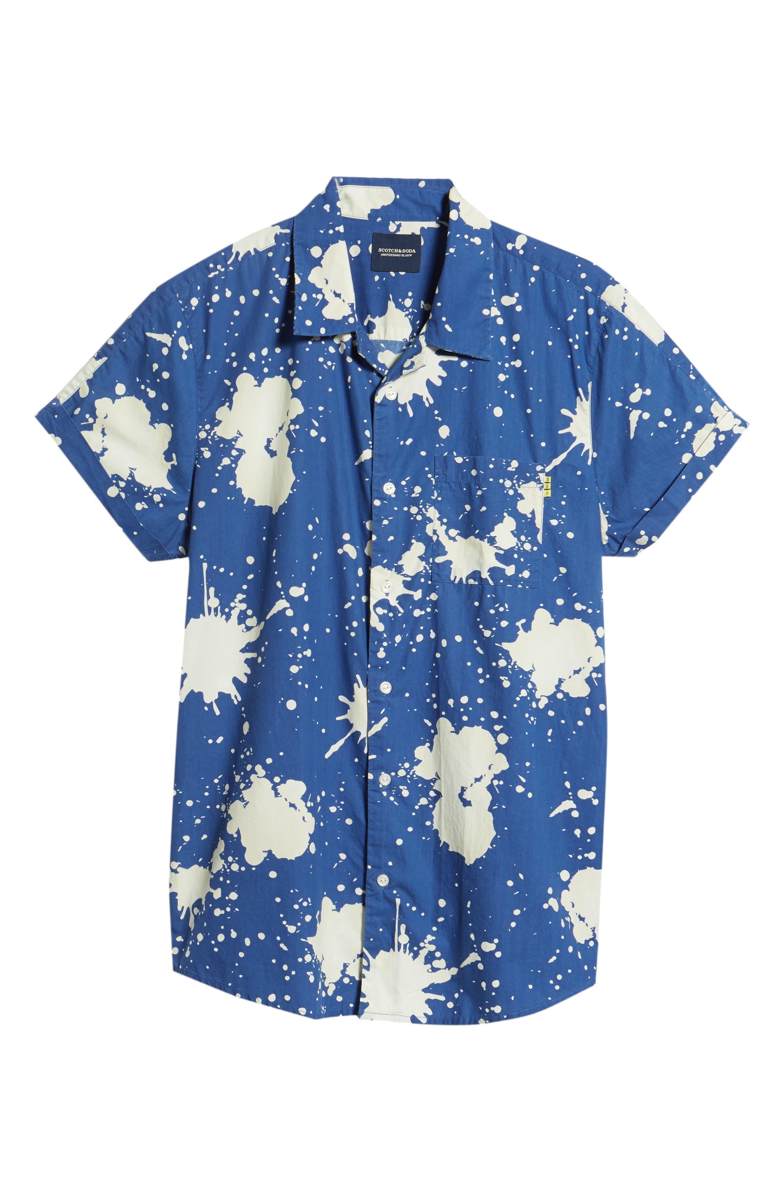 Amsterdams Blauw Allover Print Camp Shirt,                             Alternate thumbnail 6, color,                             BLUE