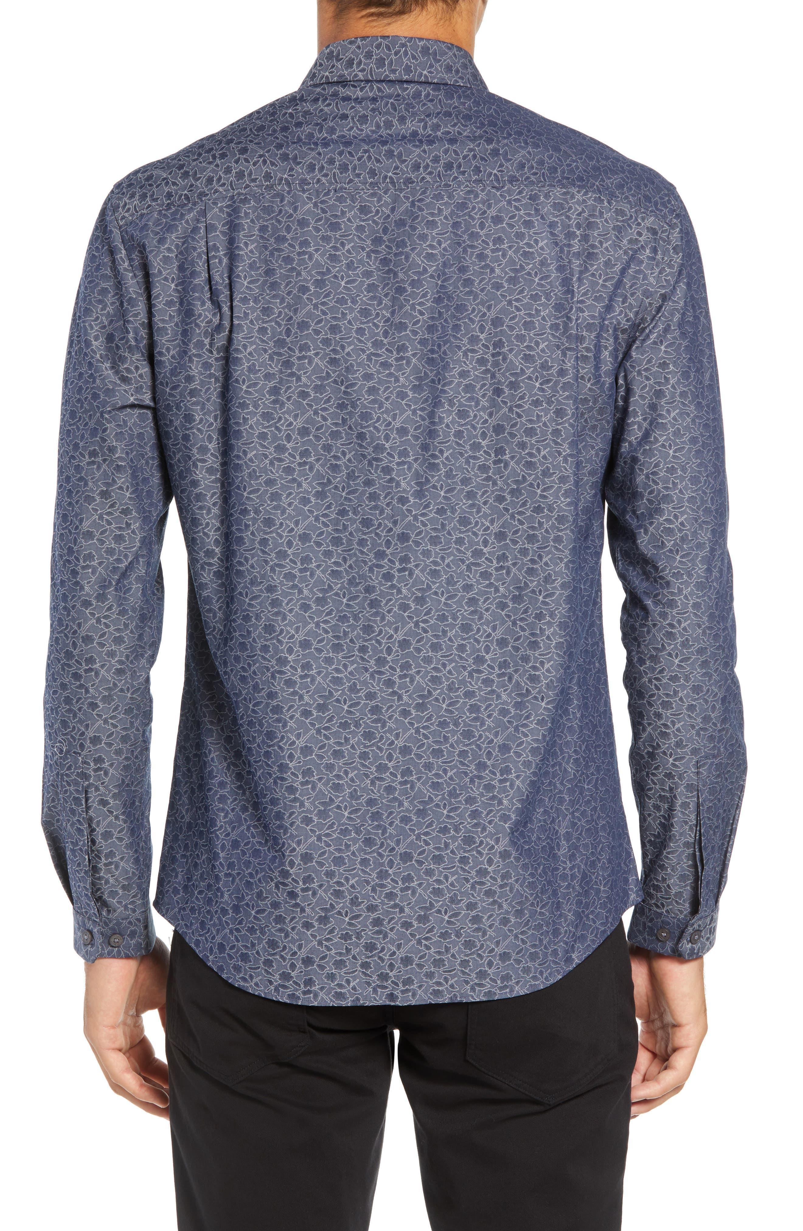 Slim Fit Print Sport Shirt,                             Alternate thumbnail 3, color,                             NAVY DOBBY