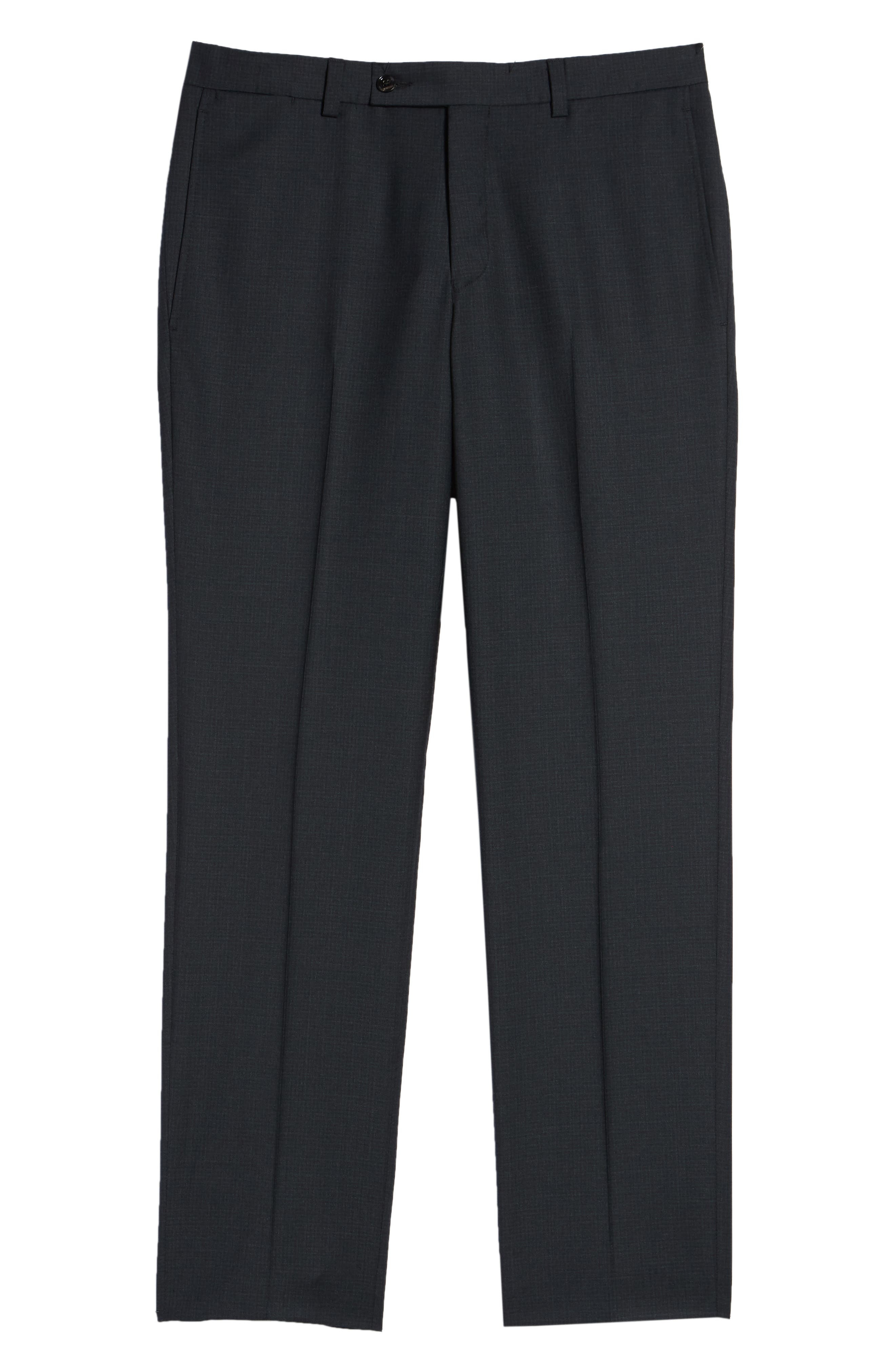 Jefferson Flat Front Check Wool Trousers,                             Alternate thumbnail 6, color,                             GREY