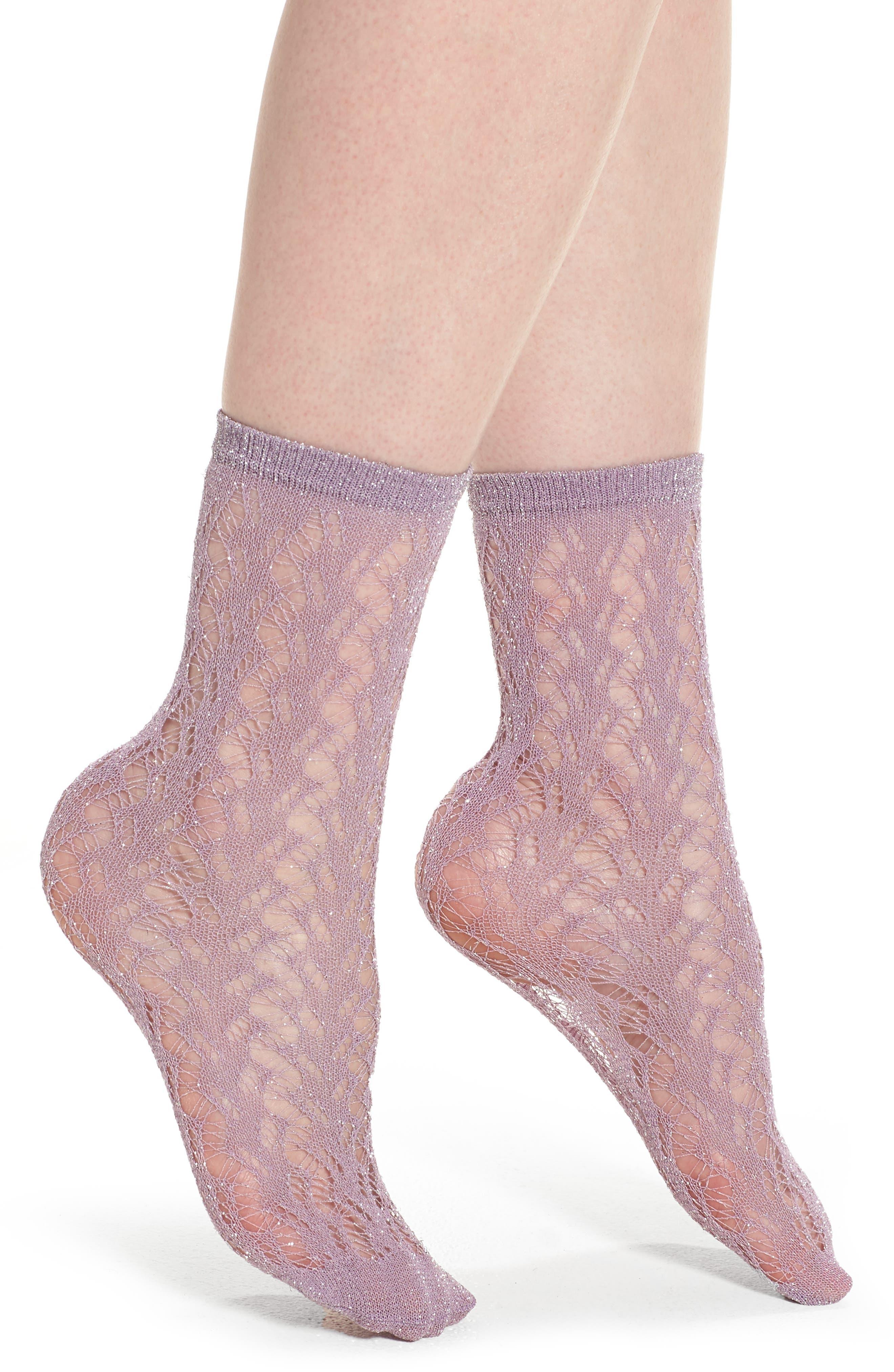 Calzino Glitter Fishnet Trouser Socks,                             Main thumbnail 2, color,