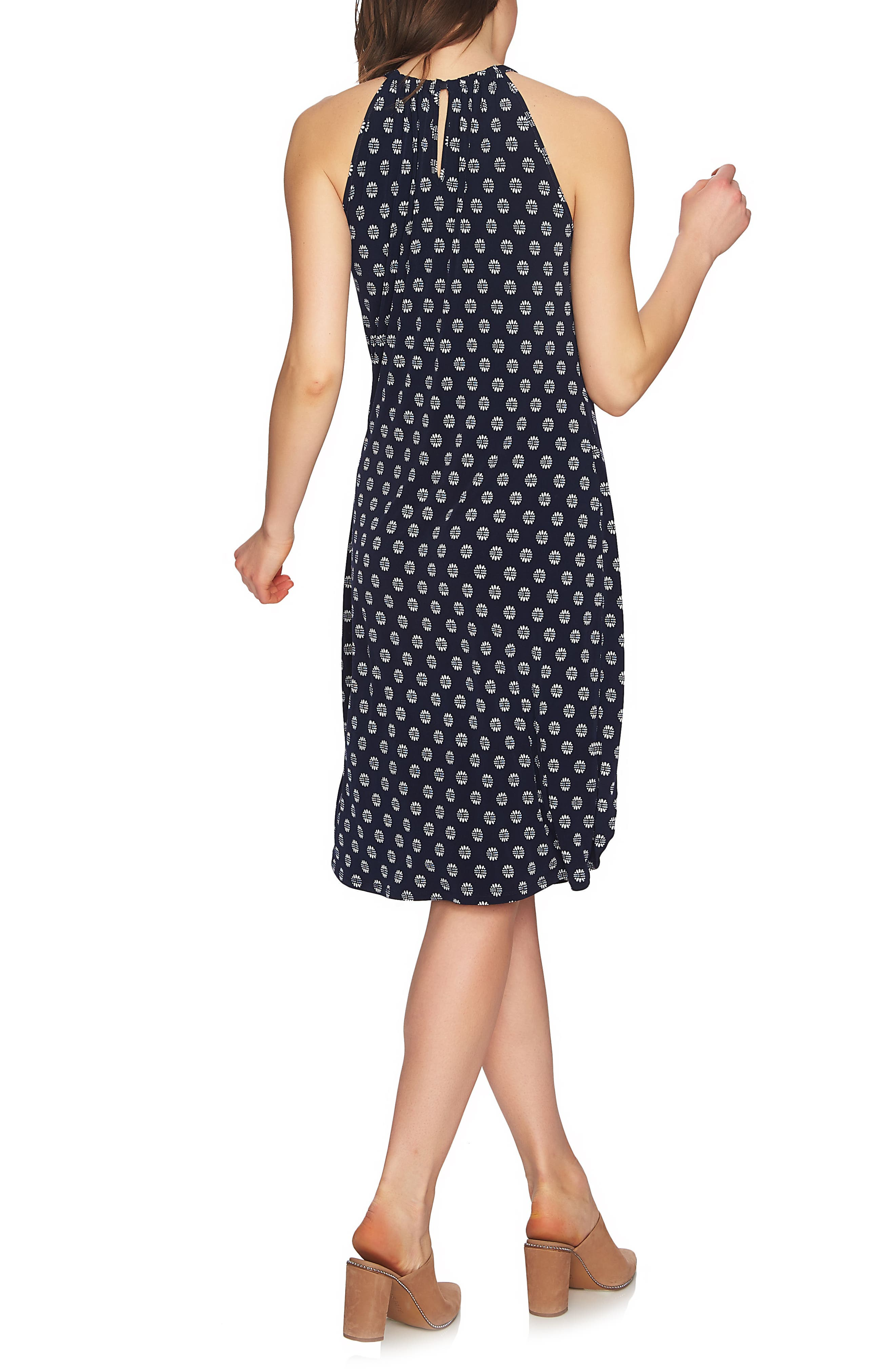 Tie Front Halter Style Dress,                             Alternate thumbnail 2, color,                             NIGHT NAVY