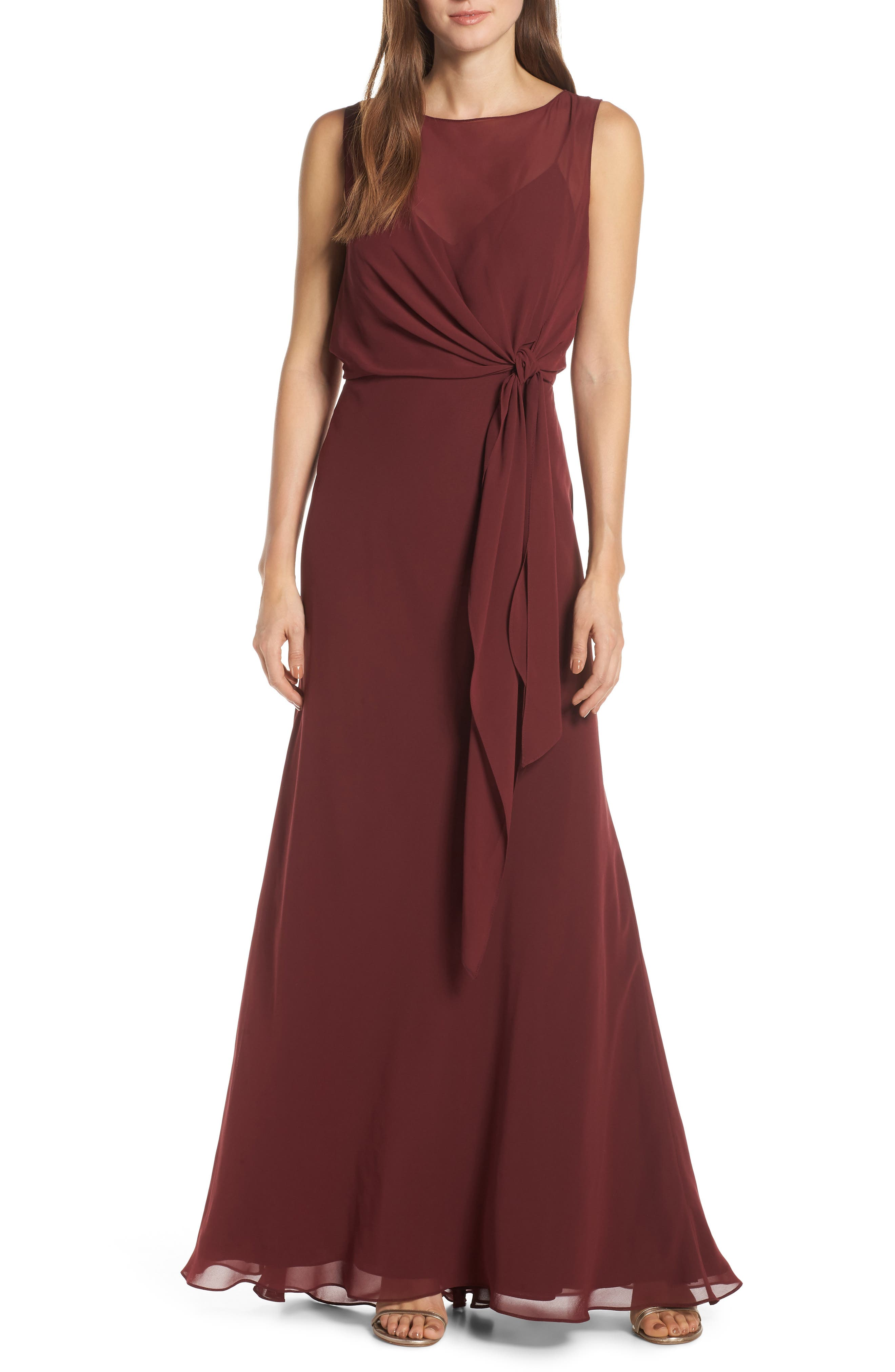 Jenny Yoo Chiffon Overlay Evening Dress
