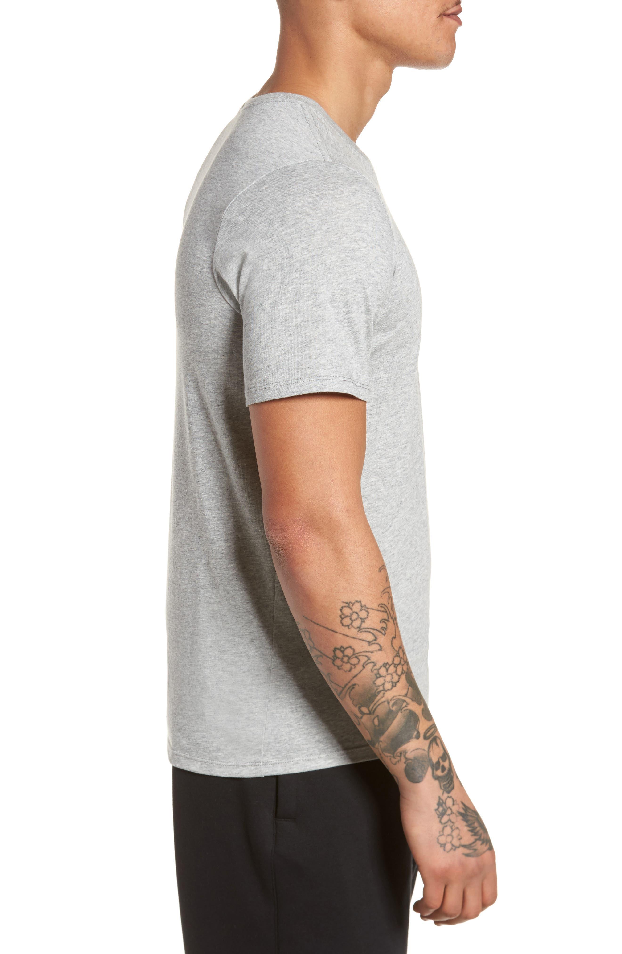 Dry Swooshie Crewneck T-Shirt,                             Alternate thumbnail 3, color,                             DARK GREY HEATHER/ BLACK