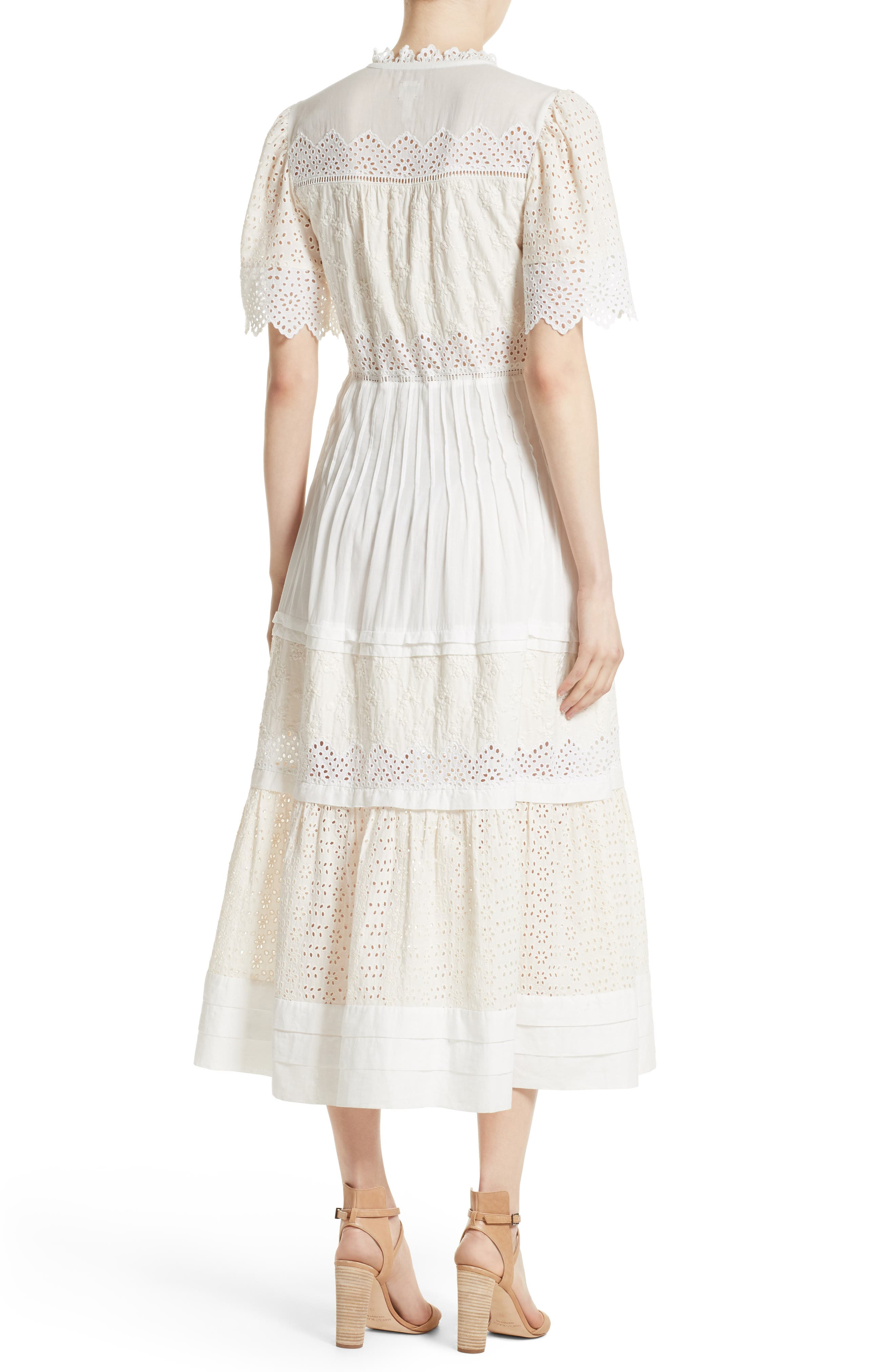 Embroidered Voile Midi Dress,                             Alternate thumbnail 2, color,                             900