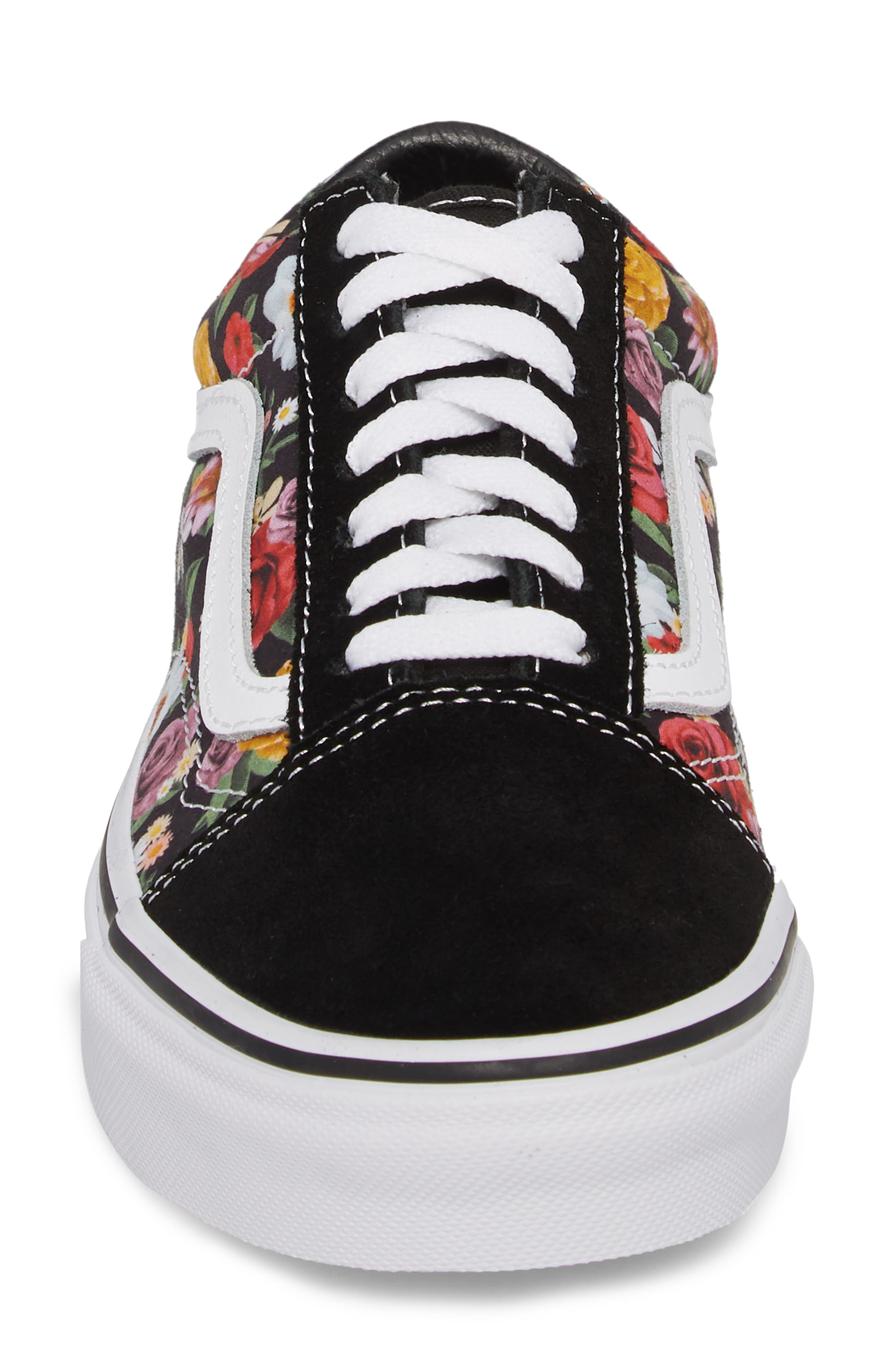 UA Old Skool Lux Floral Sneaker,                             Alternate thumbnail 4, color,                             001