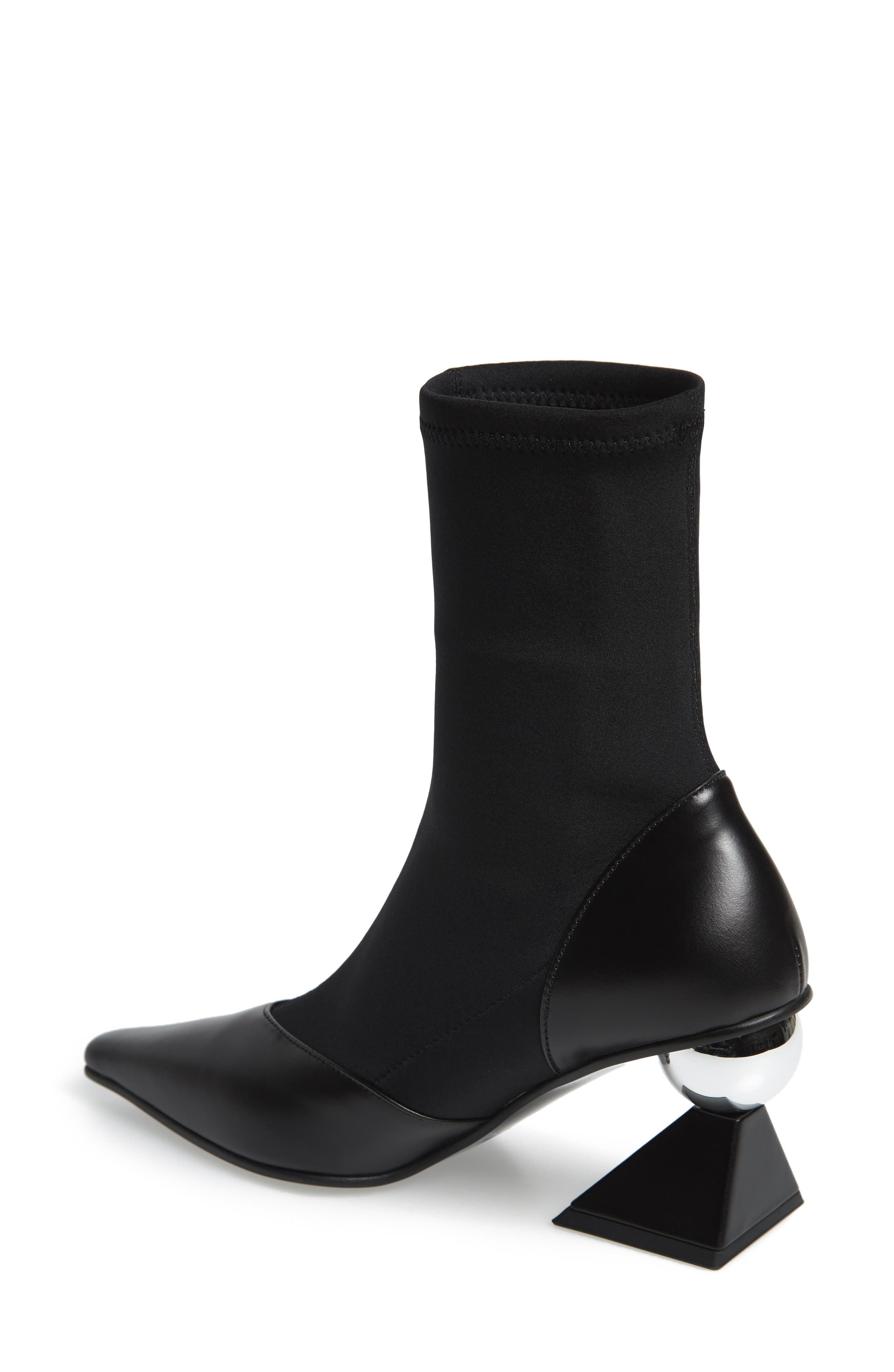 Statement Heel Sock Bootie,                             Alternate thumbnail 2, color,                             BLACK/ SILVER