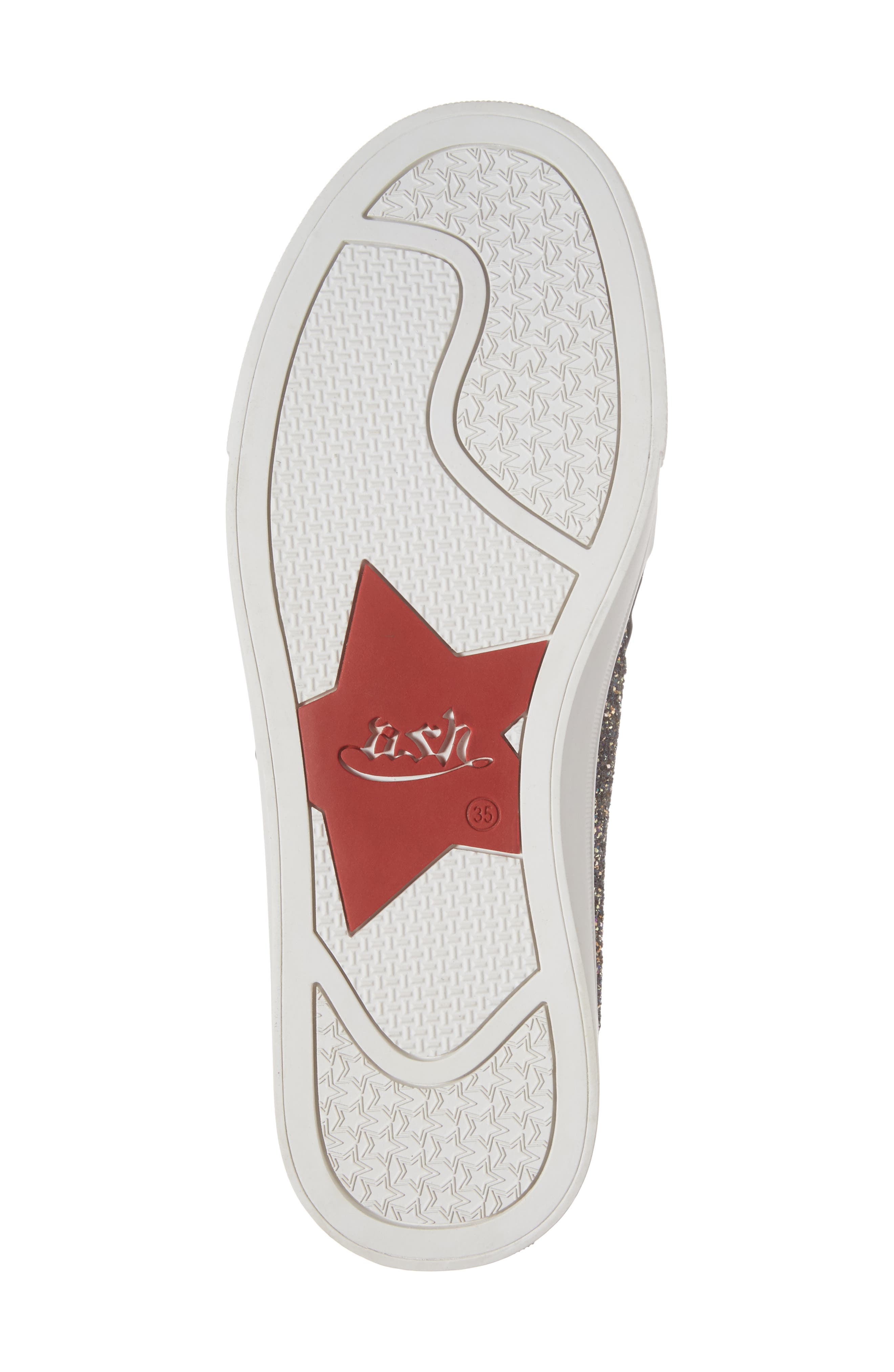 Lynn Monica Glittery Zip Sneaker,                             Alternate thumbnail 6, color,                             001