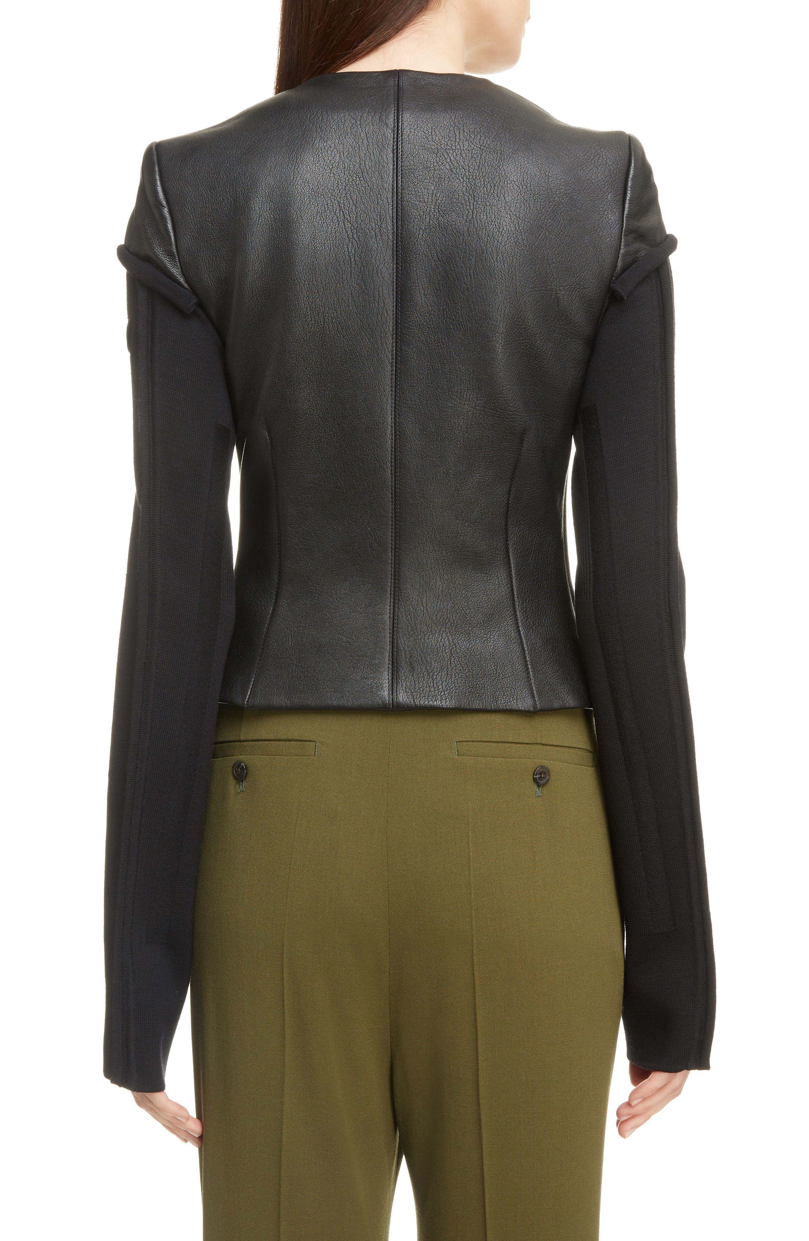 V-Neck Leather Biker Jacket,                             Alternate thumbnail 2, color,                             BLACK