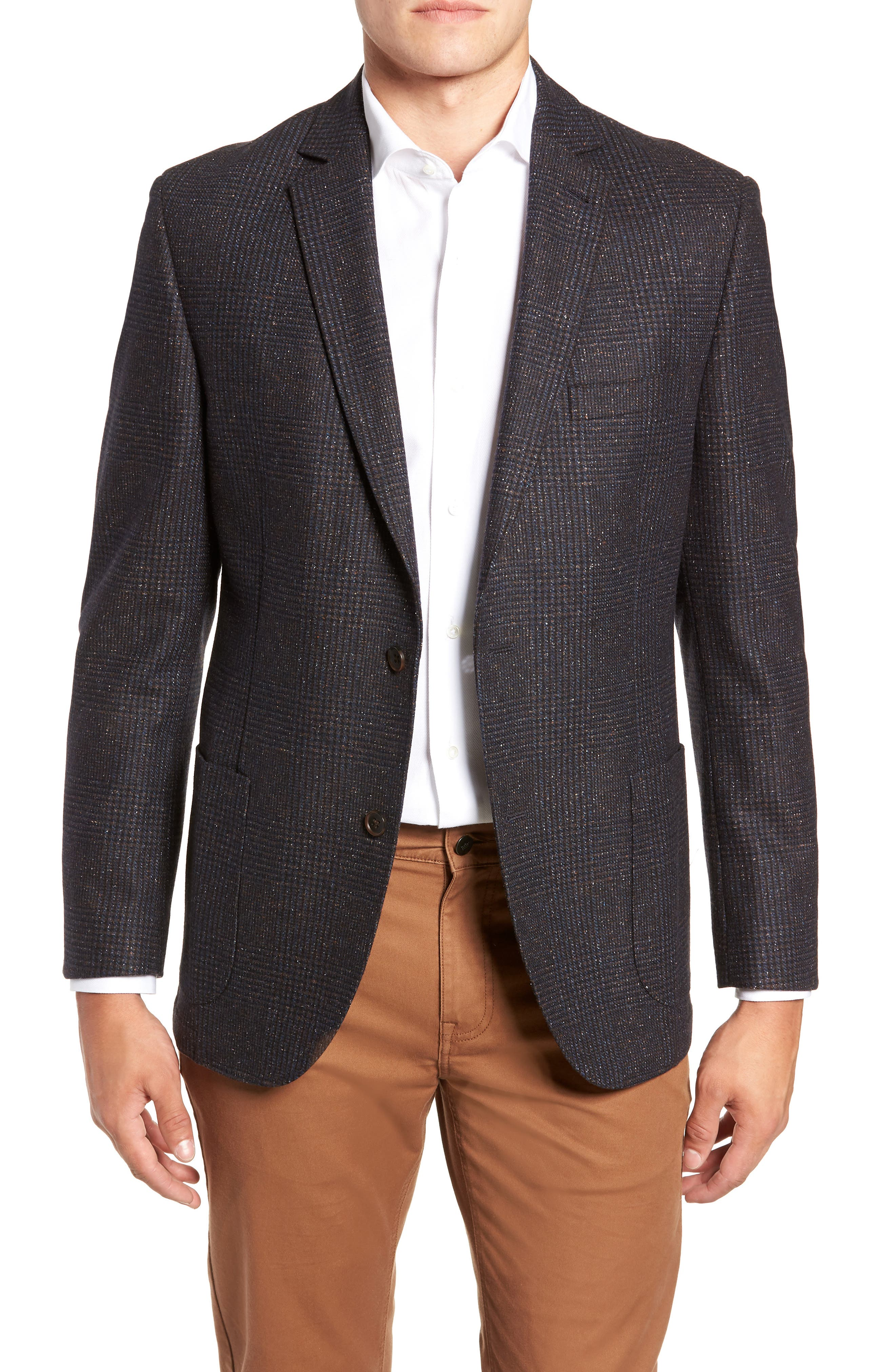 Regular Fit Wool & Silk Blend Blazer,                             Main thumbnail 1, color,                             BROWN