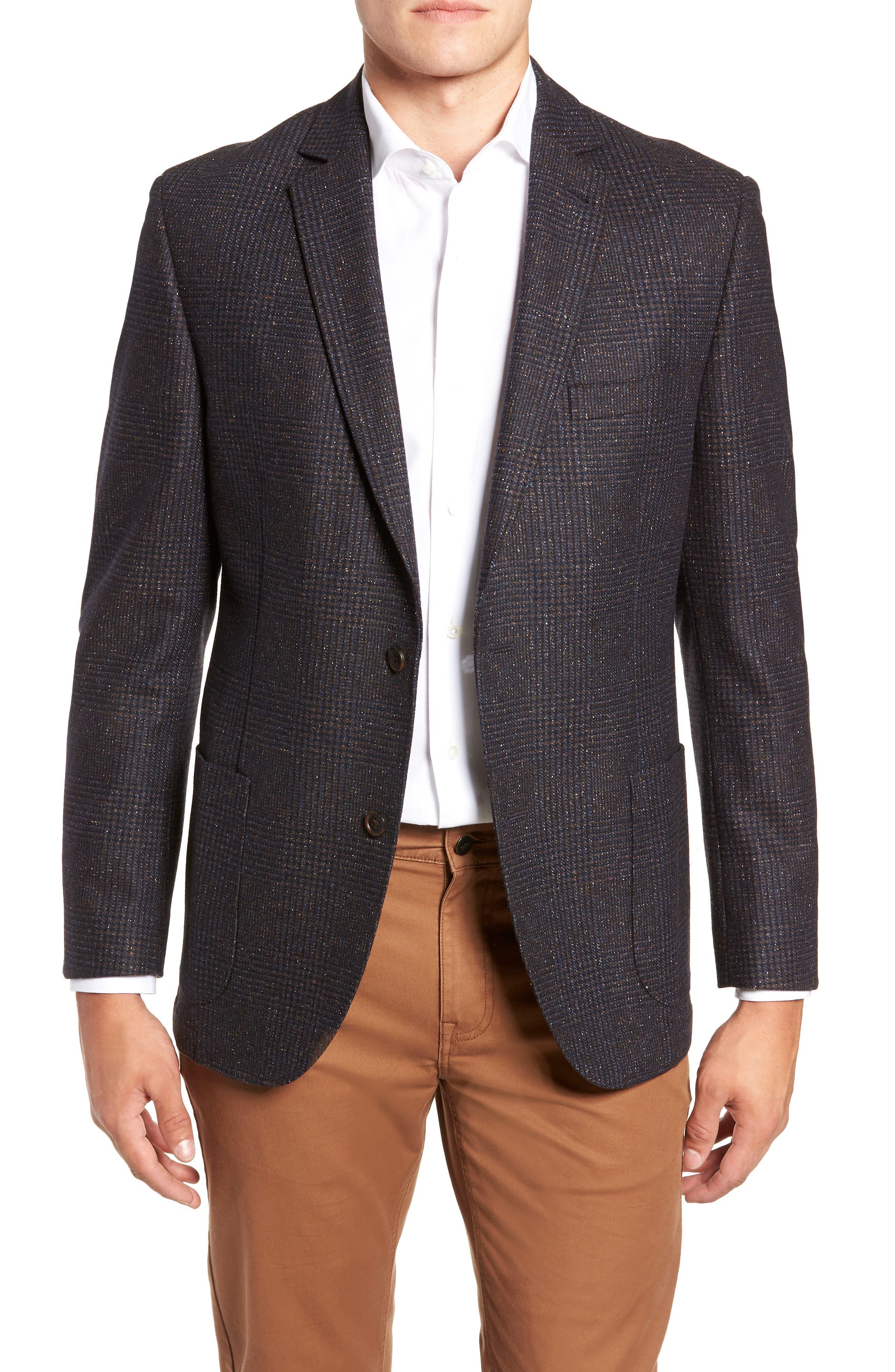 Regular Fit Wool & Silk Blend Blazer,                         Main,                         color, BROWN