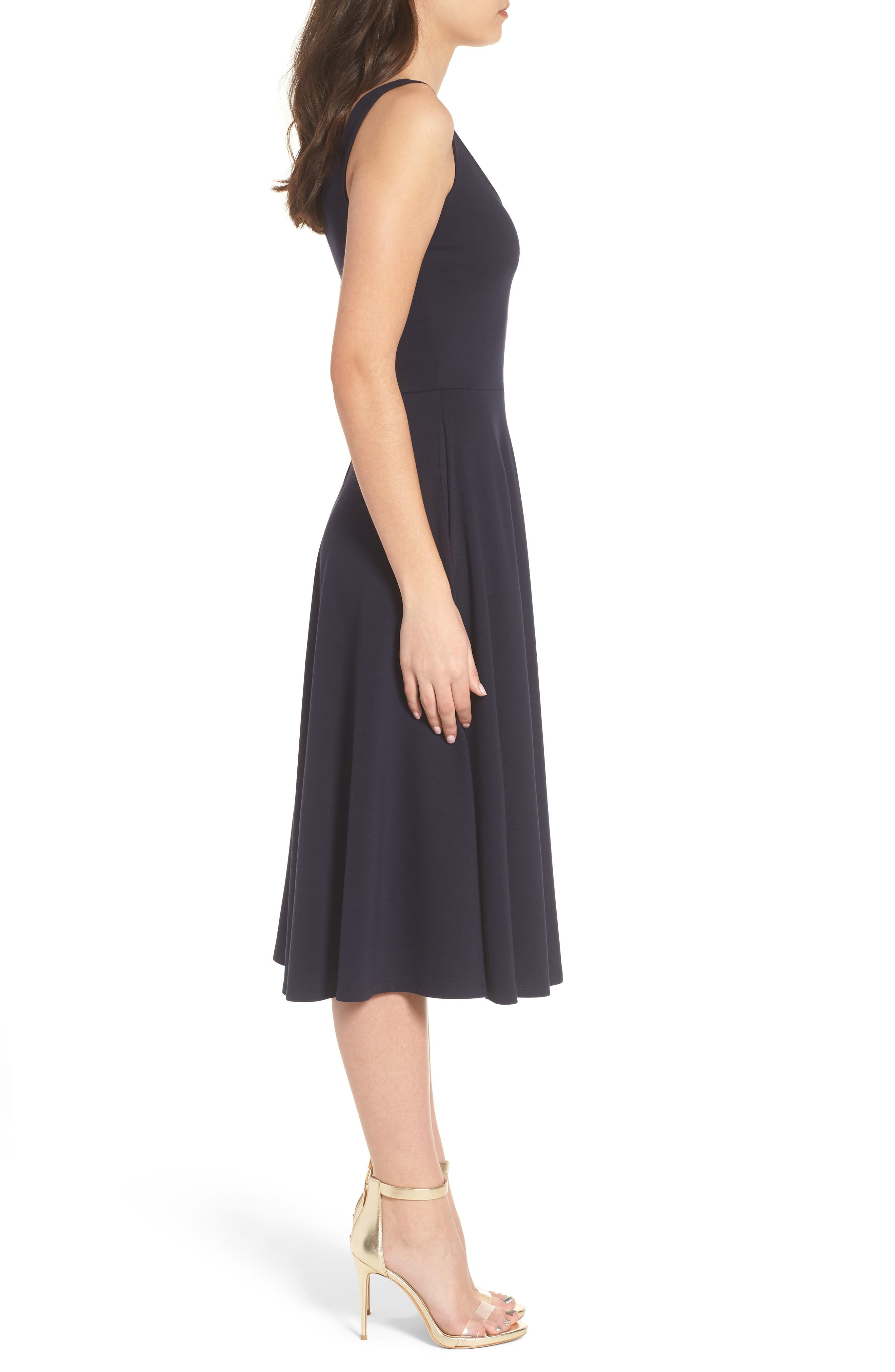 Stretch Knit Midi Dress,                             Alternate thumbnail 3, color,                             410