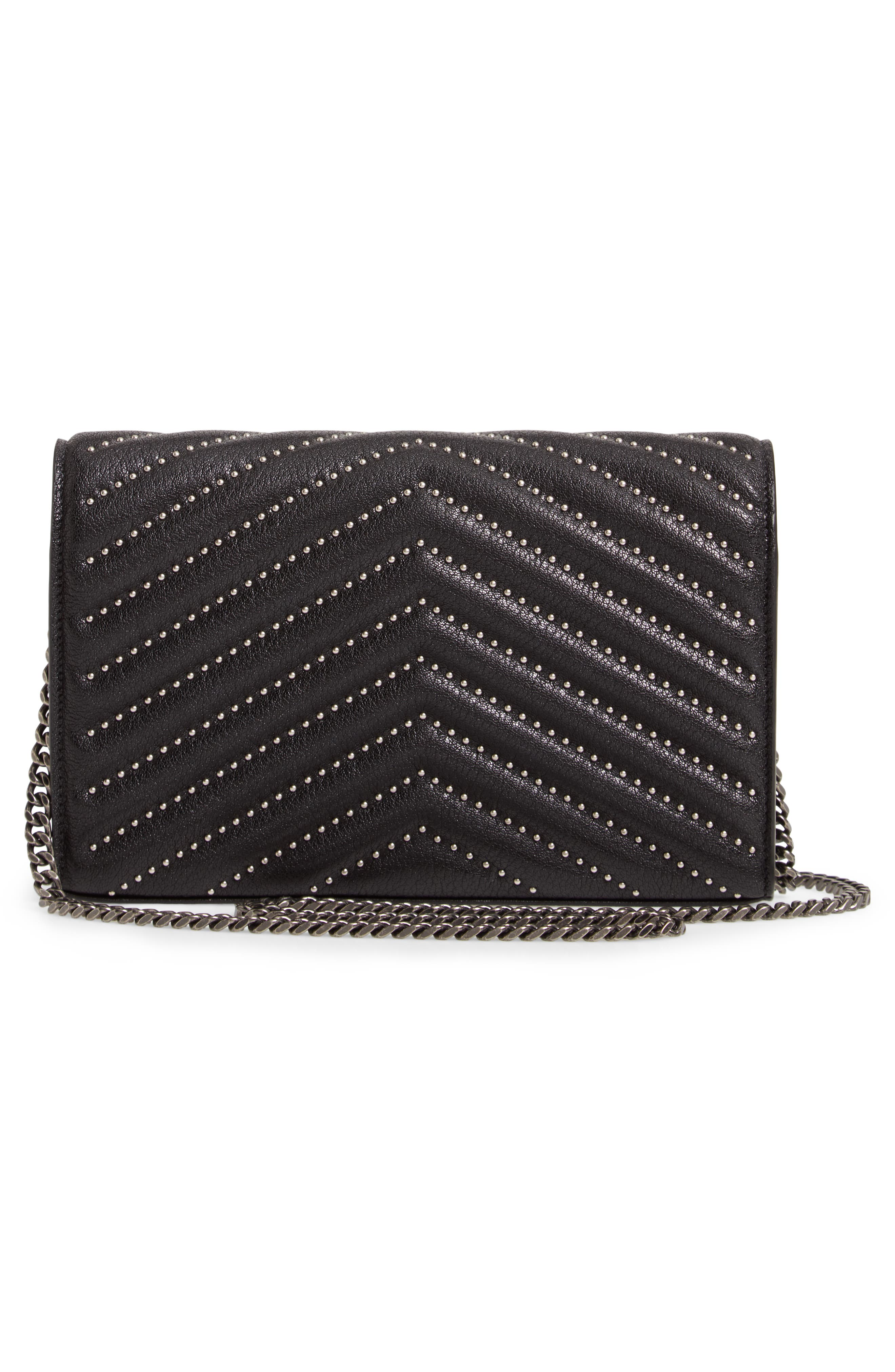 Quilted Leather Wallet on a Chain,                             Alternate thumbnail 5, color,                             NERO