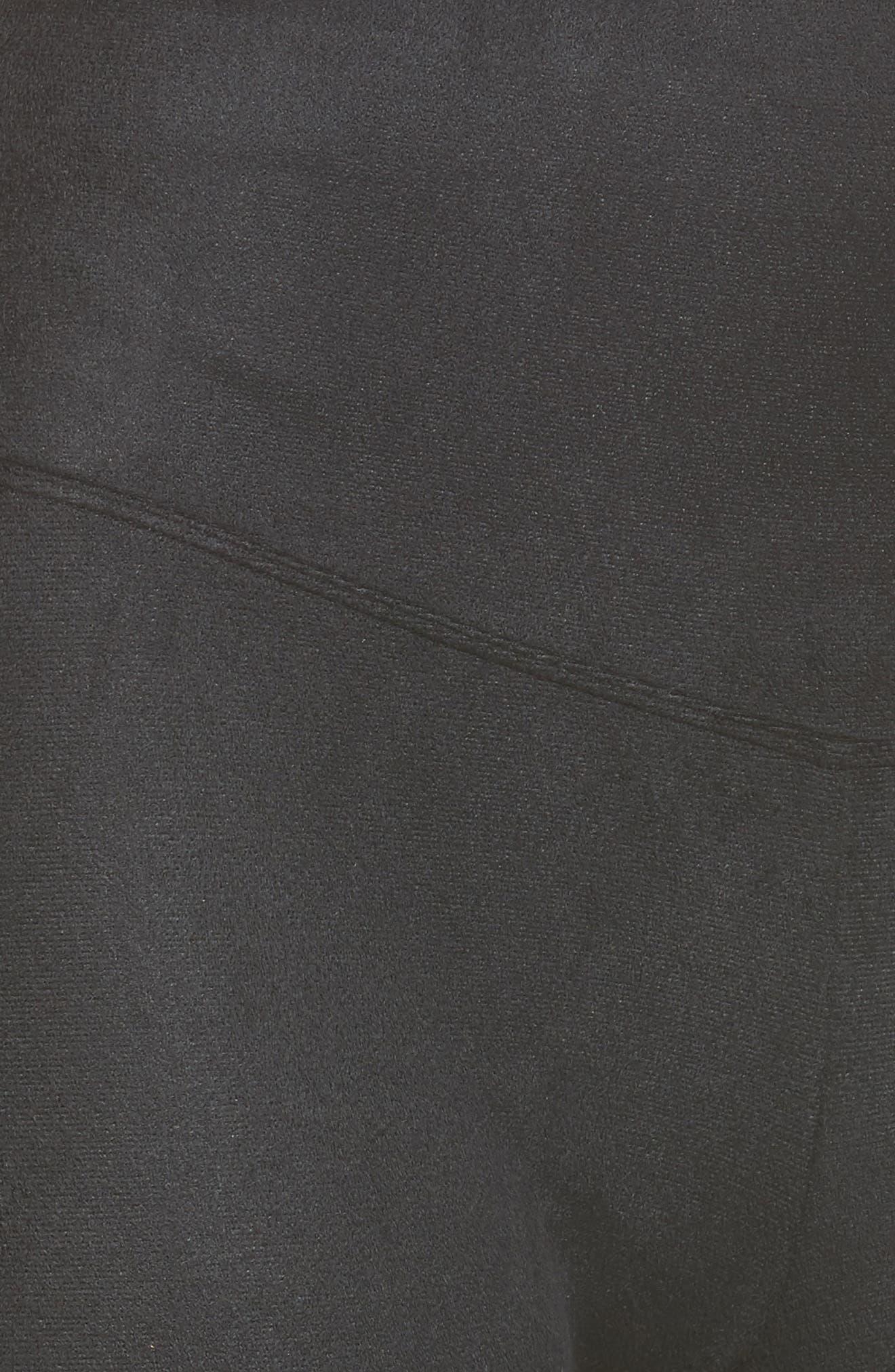 Signature High Waistband Faux Suede Leggings,                             Alternate thumbnail 5, color,                             001