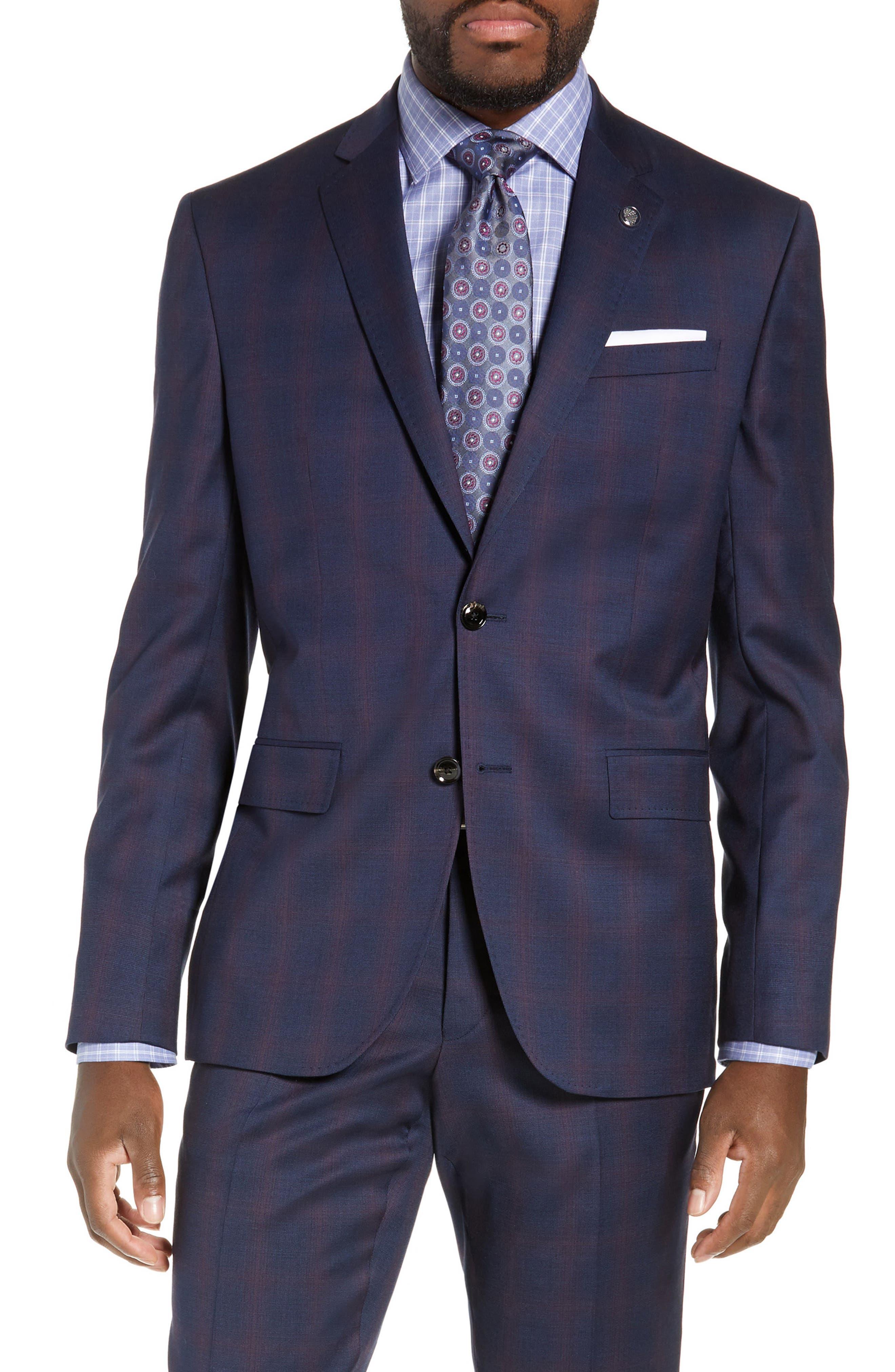 TED BAKER LONDON,                             Roger Slim Fit Plaid Wool Suit,                             Alternate thumbnail 5, color,                             NAVY