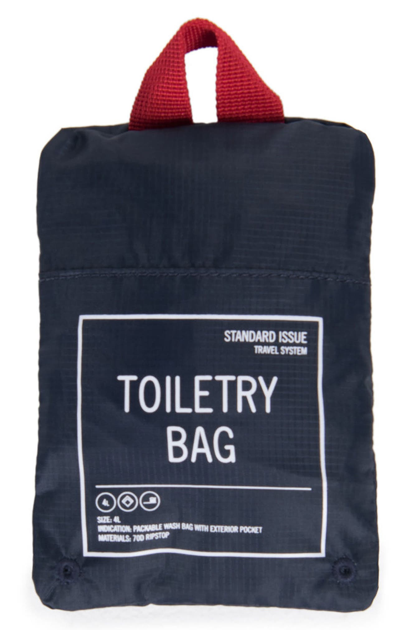 Toiletry Bag,                             Alternate thumbnail 3, color,                             NAVY/ RED