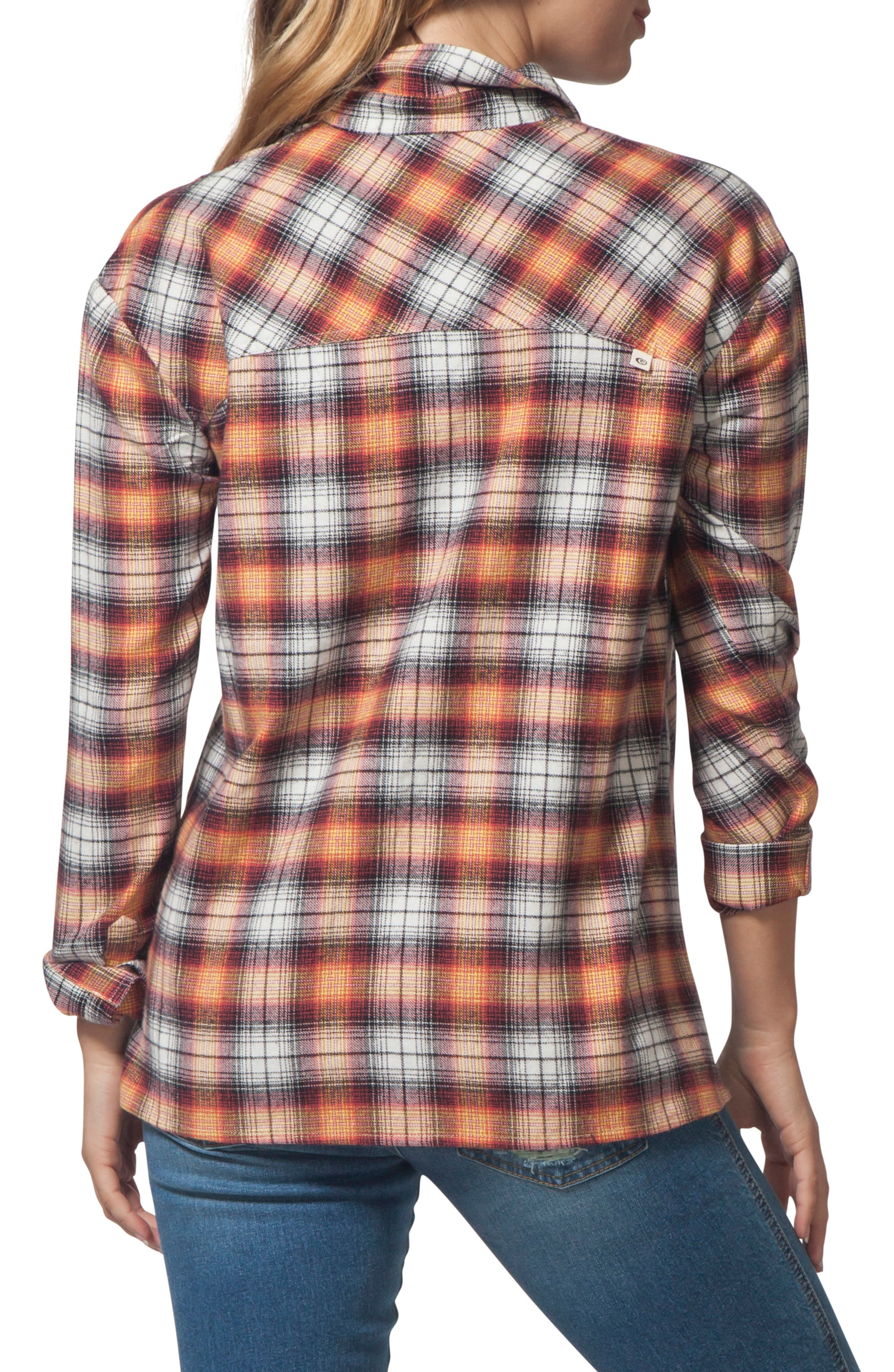 One Step Plaid Flannel Top,                             Alternate thumbnail 2, color,                             VANILLA
